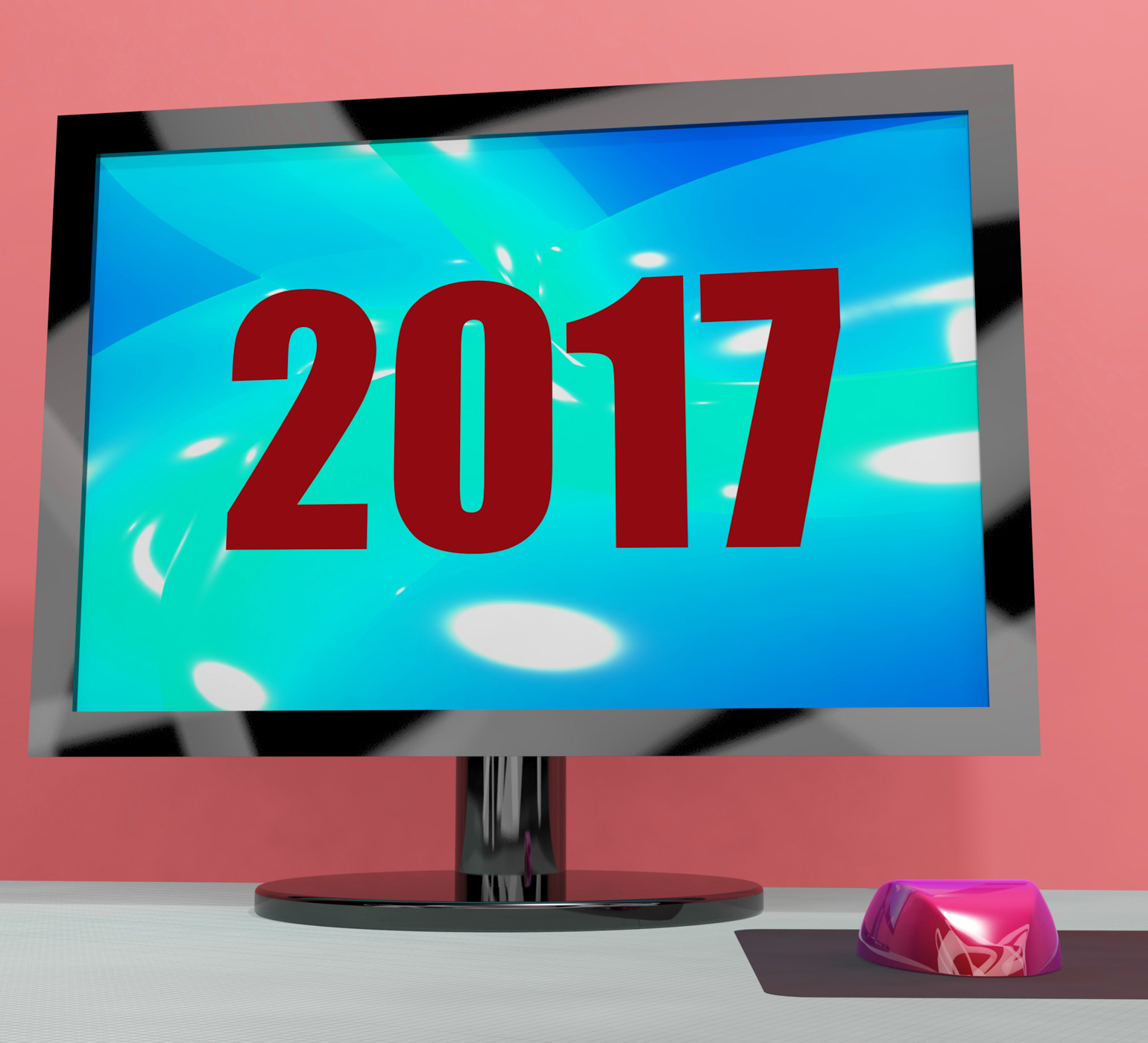 Two thousand and seventeen on monitor shows year 2017 photo
