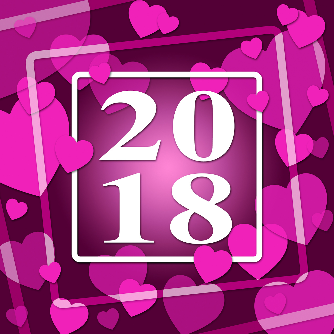 Two thousand eighteen indicates happy new year and annual photo