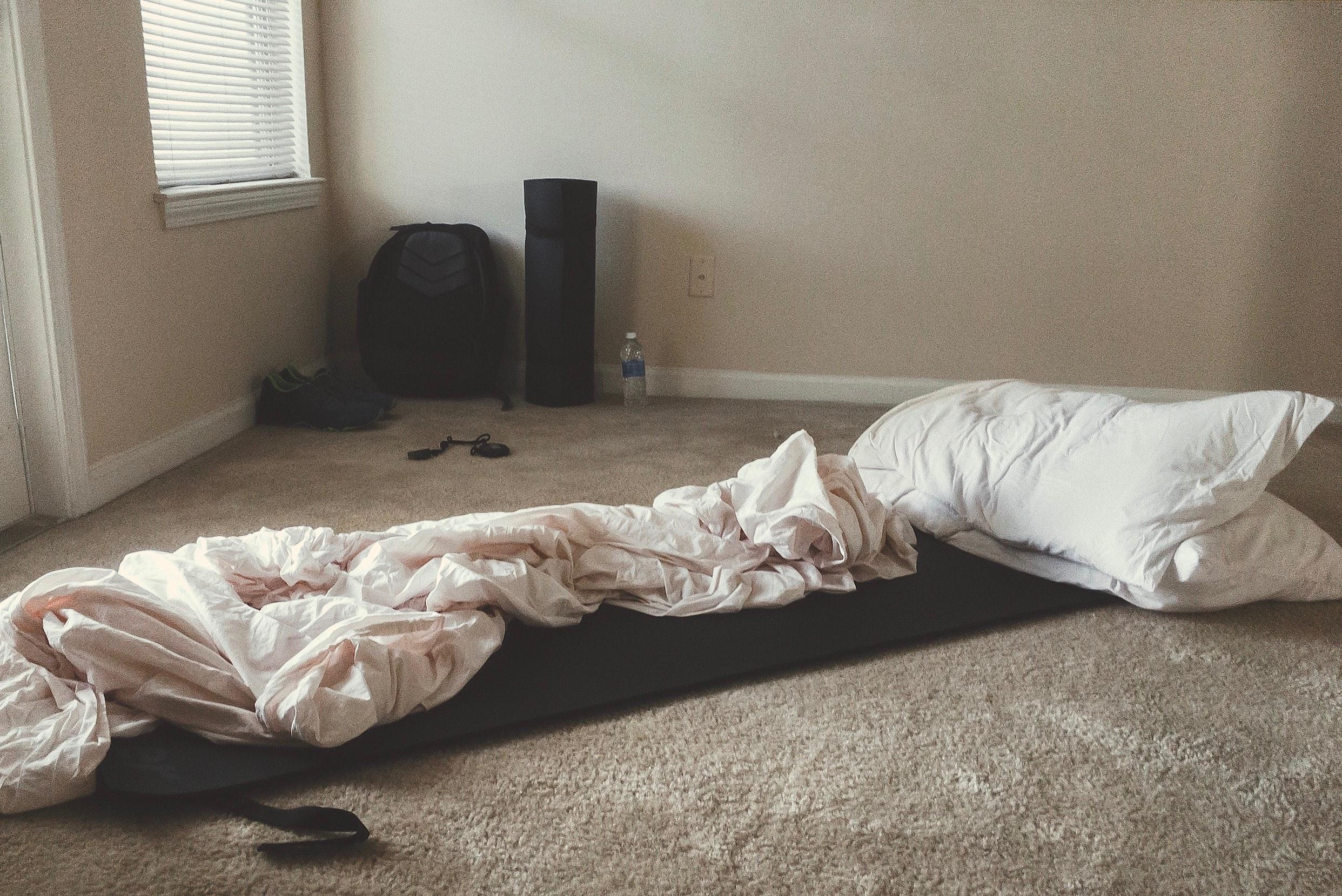 Free photo: Two White Rectangular Pillows With White Blanket on ...