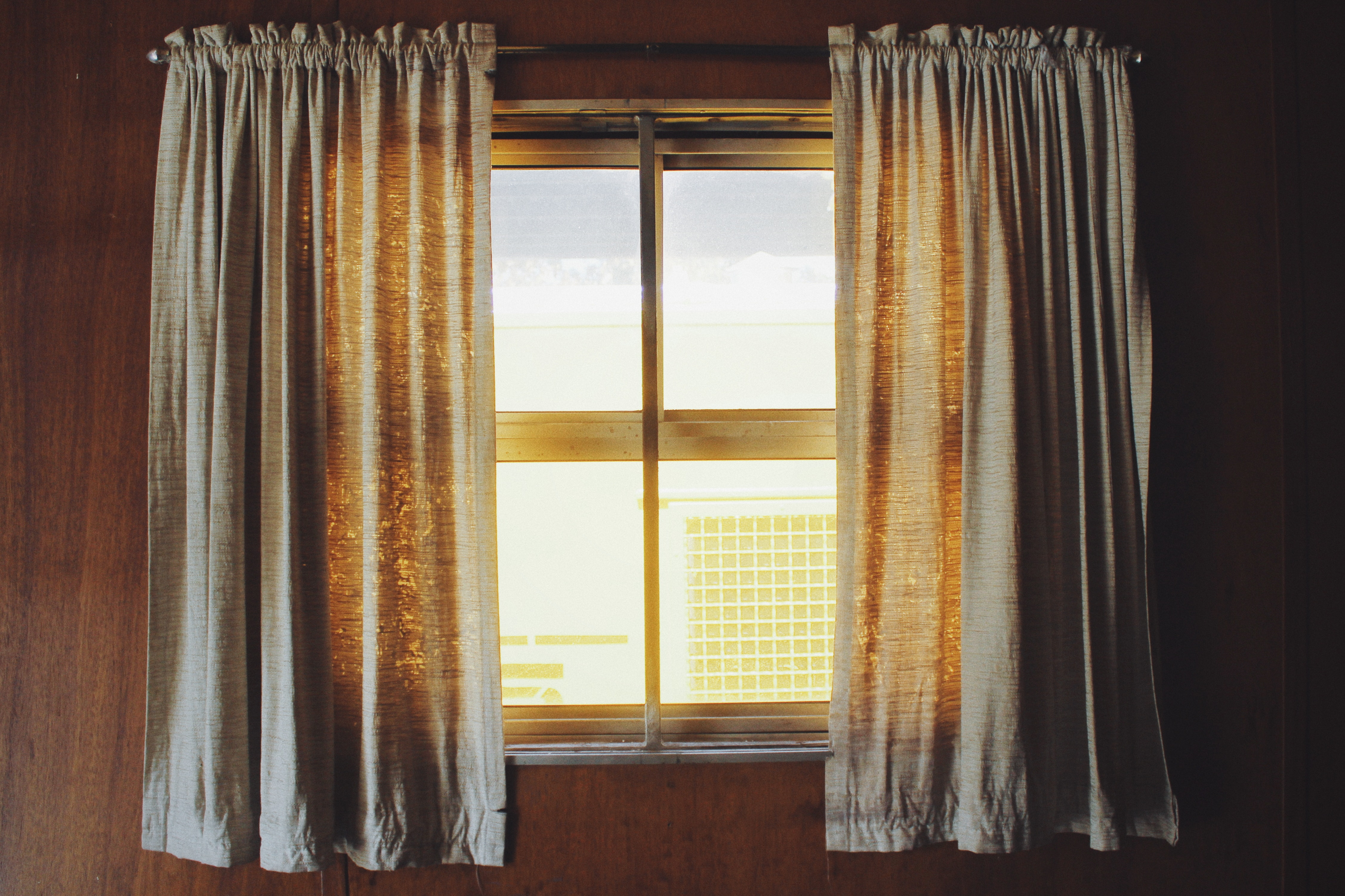Two White Rod Pocket Curtains, Brown, Inside, Window, Wall, HQ Photo