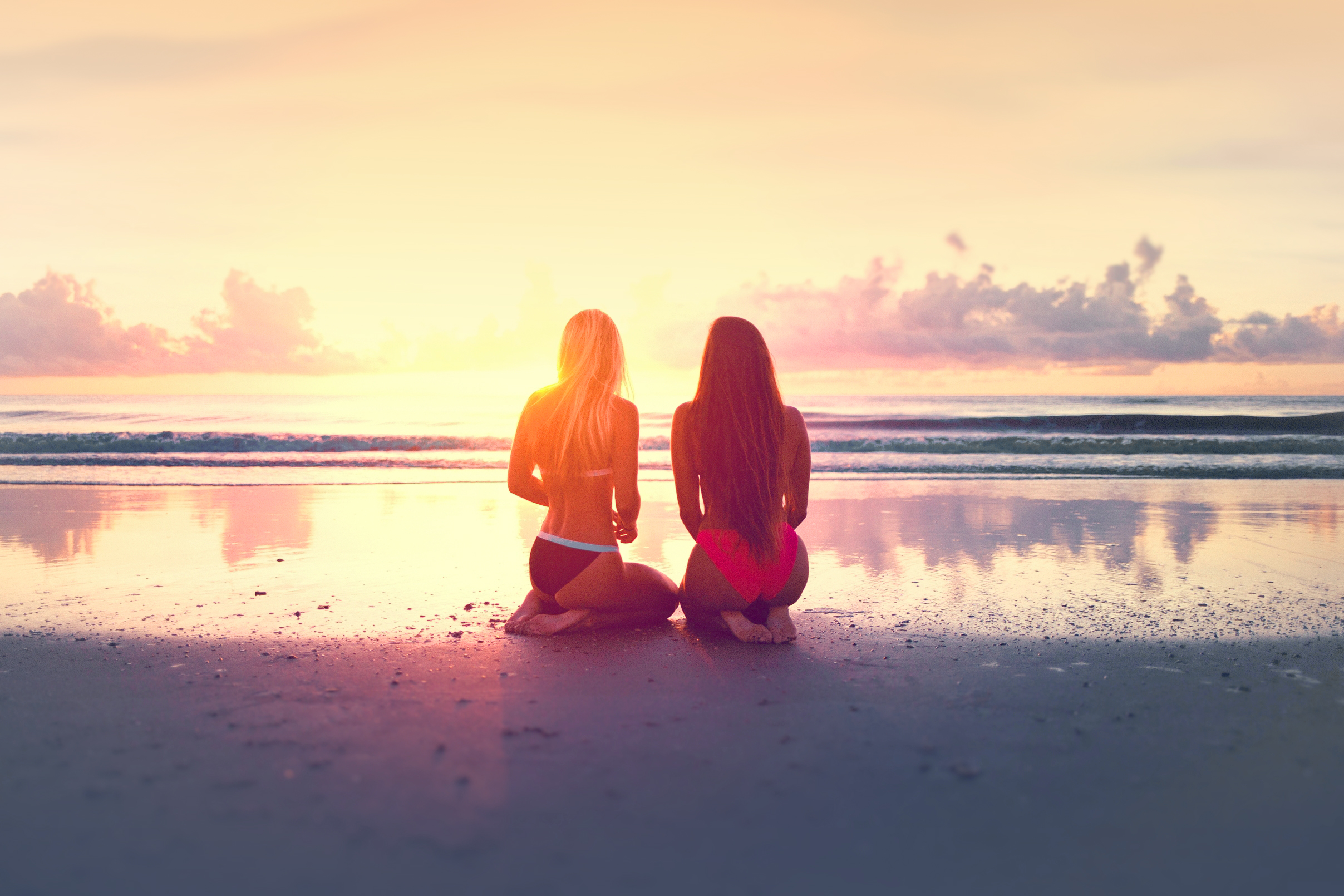 Two Young Women Watching the Sunset Over the Ocean, Seascape, Summer, Slim, Sky, HQ Photo