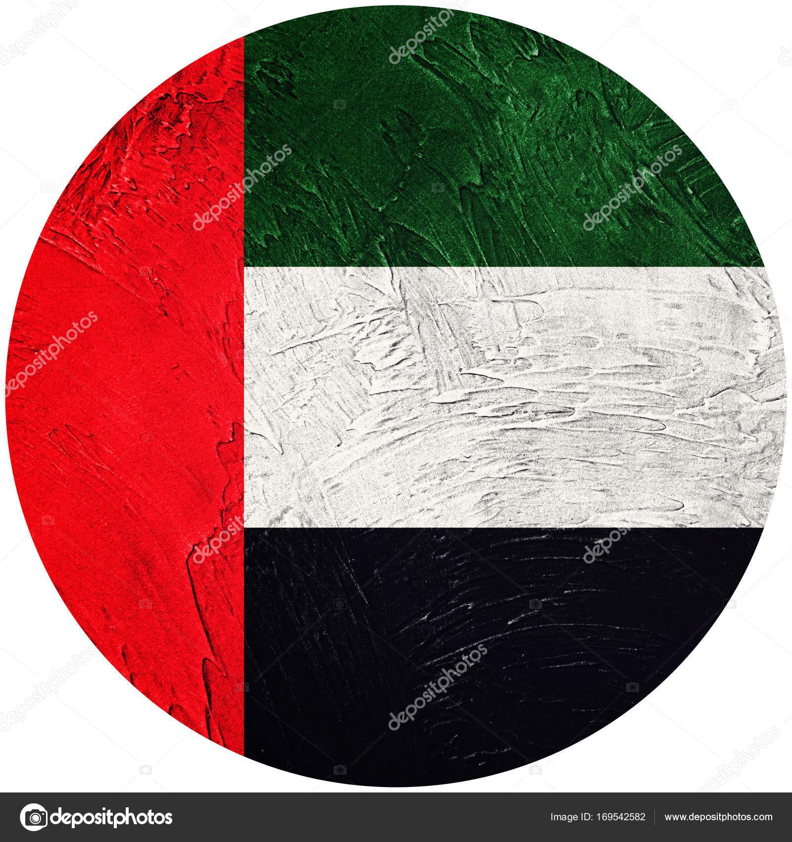 Grunge UAE flag. United Arab Emirates button flag Isolated on wh ...
