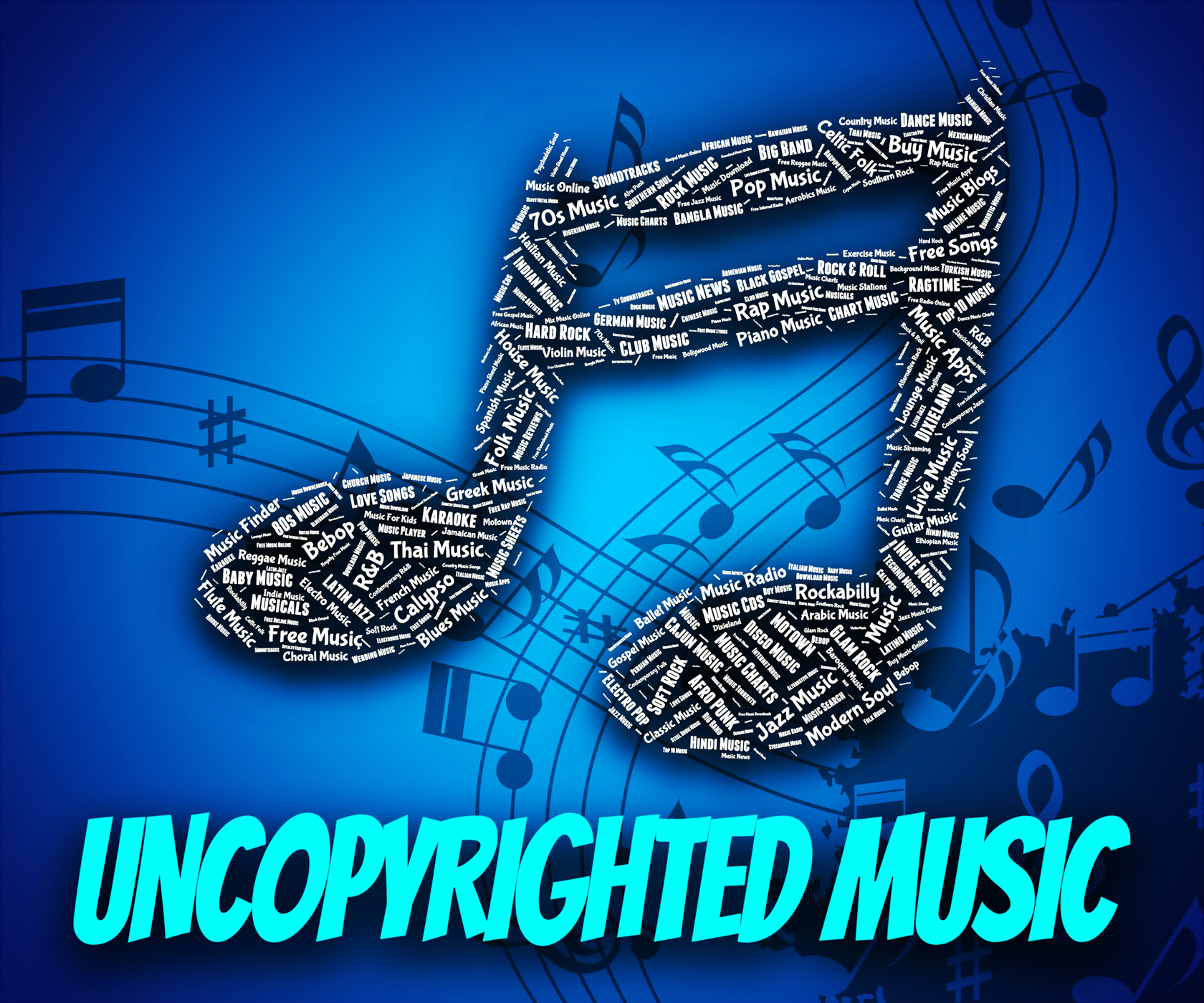 Uncopyrighted music indicates intellectual property rights and c photo