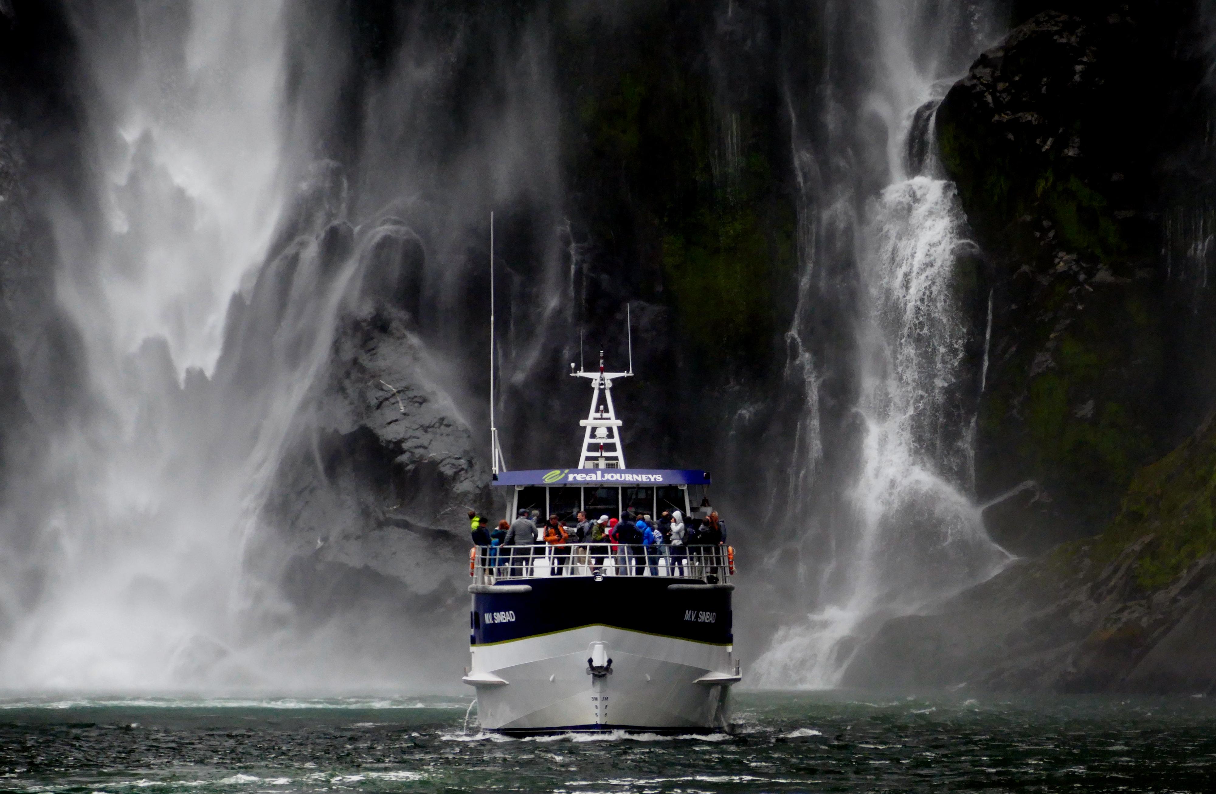 Under the bowen falls. milford sound. nz photo