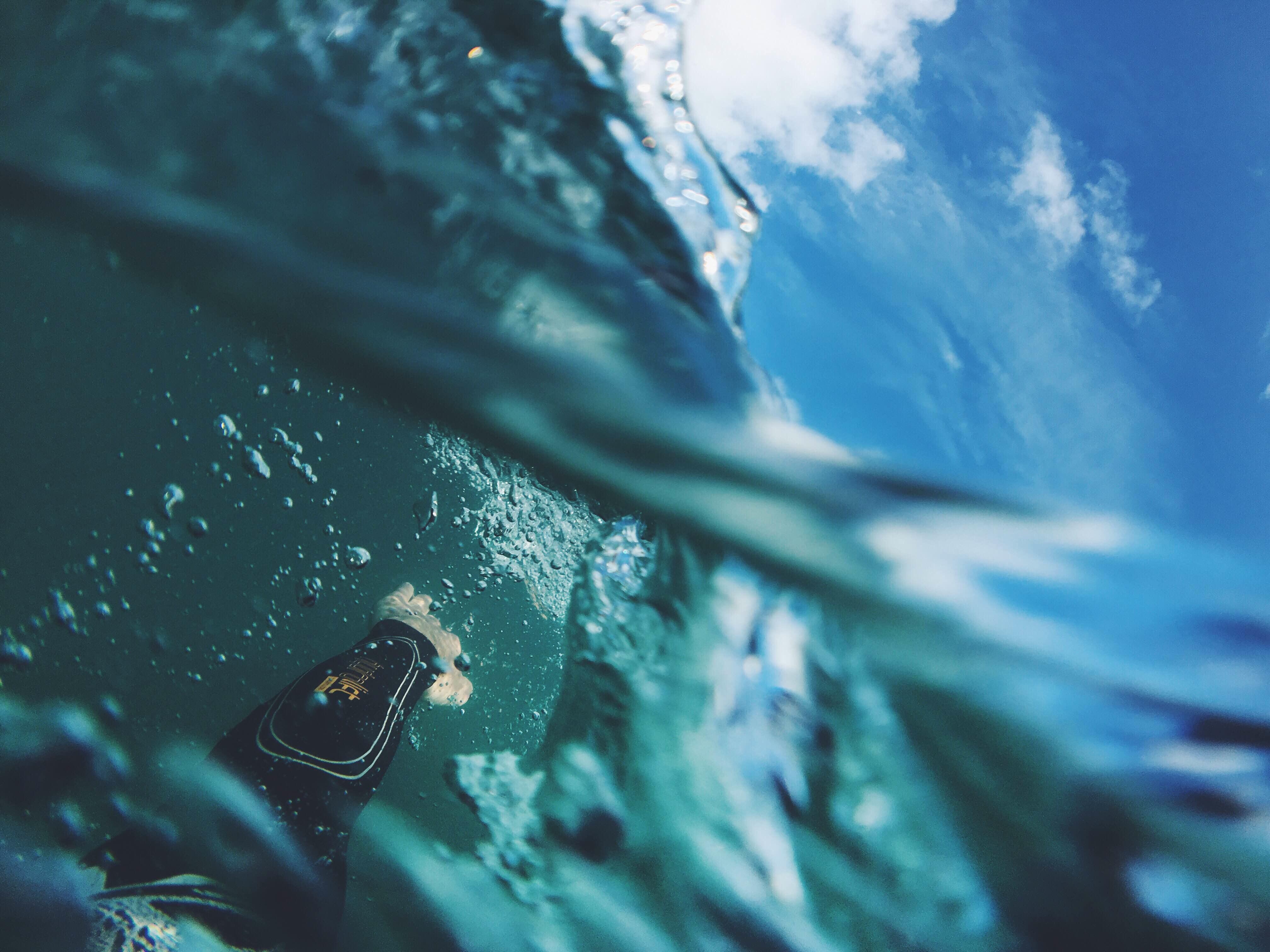 Underwater, Blue, Dive, Running, Sea, HQ Photo