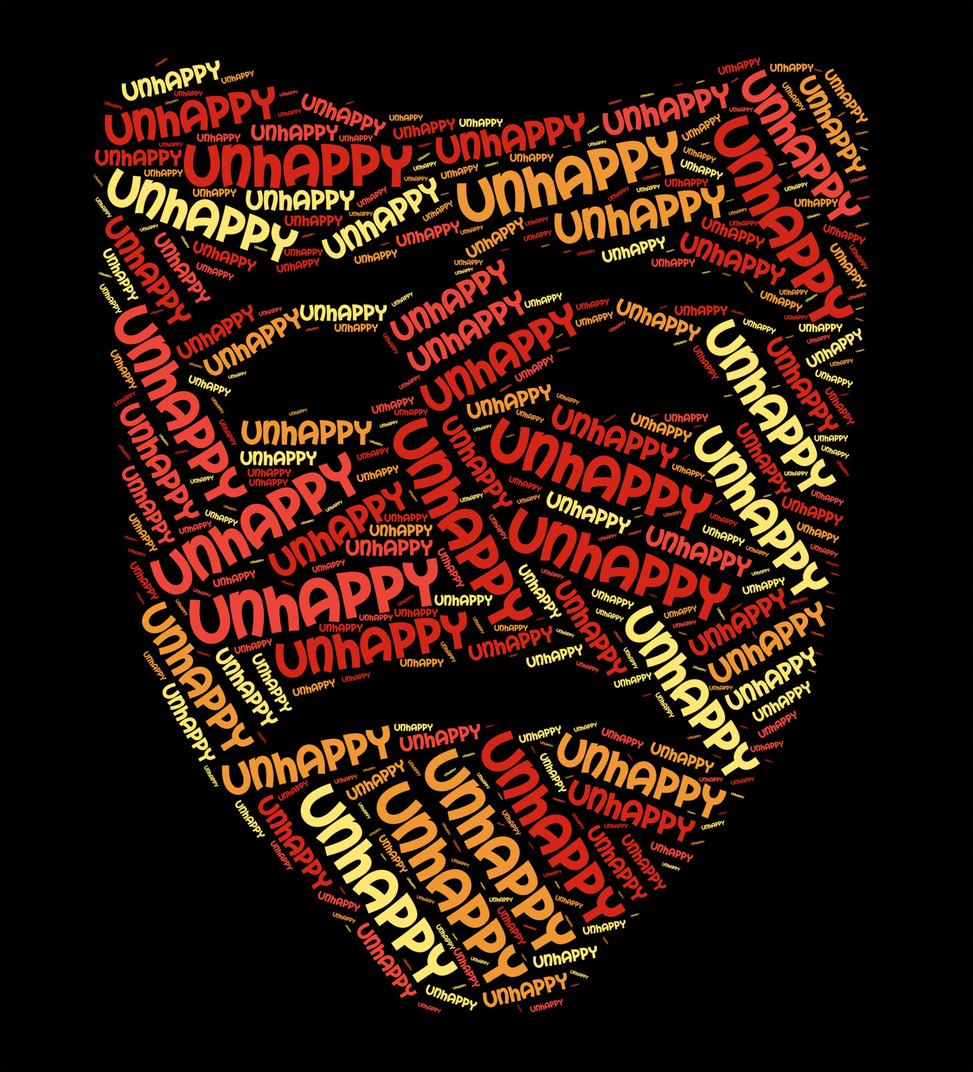 Unhappy word shows broken hearted and depressed photo