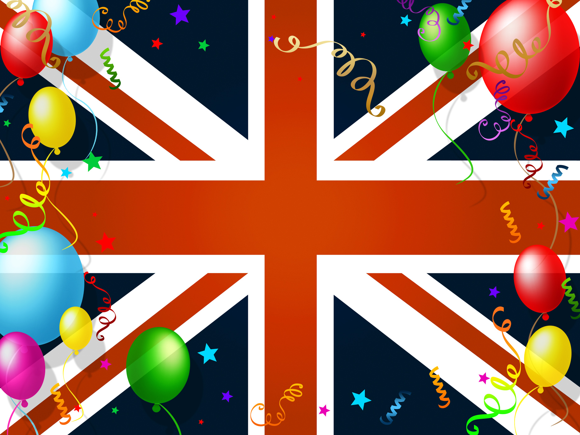 Union jack represents english flag and balloon photo