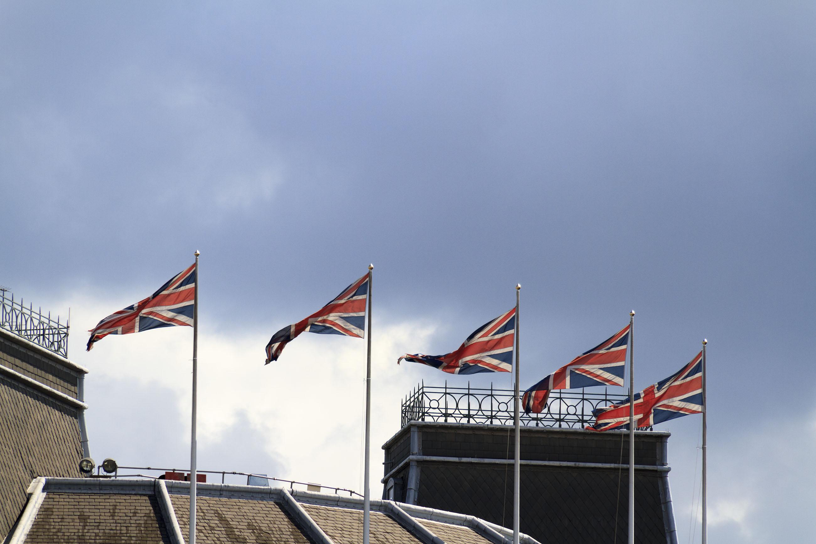 Union Jacks, Banner, Kingdom, Wind, White, HQ Photo
