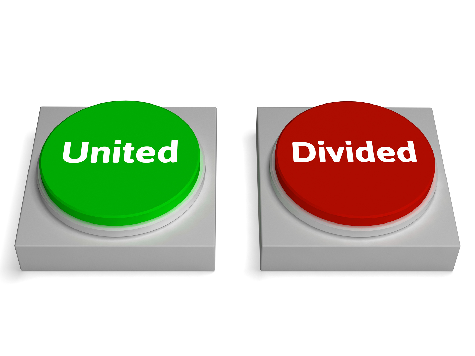 United divided buttons show unite or divide photo