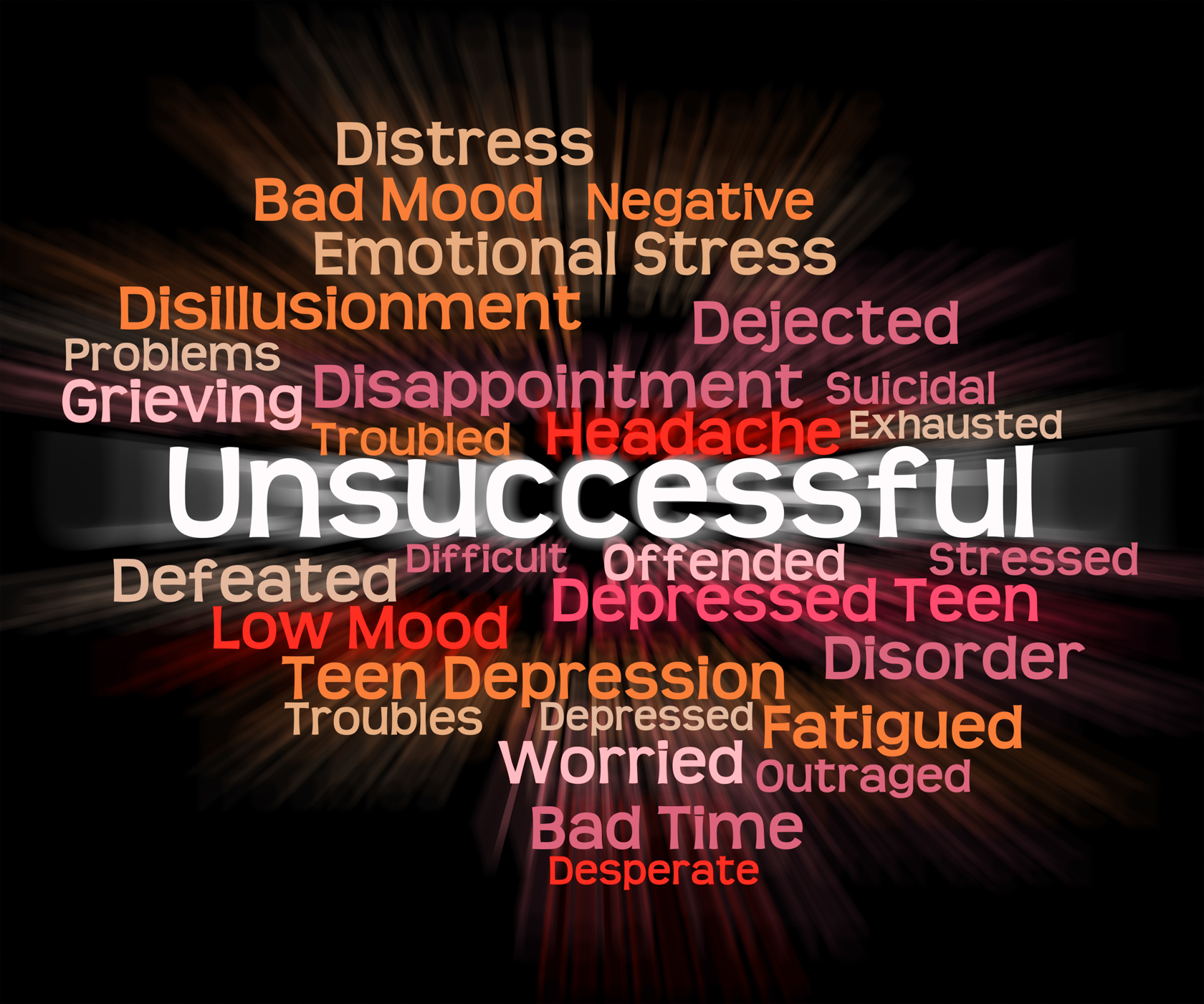Unsuccessful word shows in vain and abortive photo