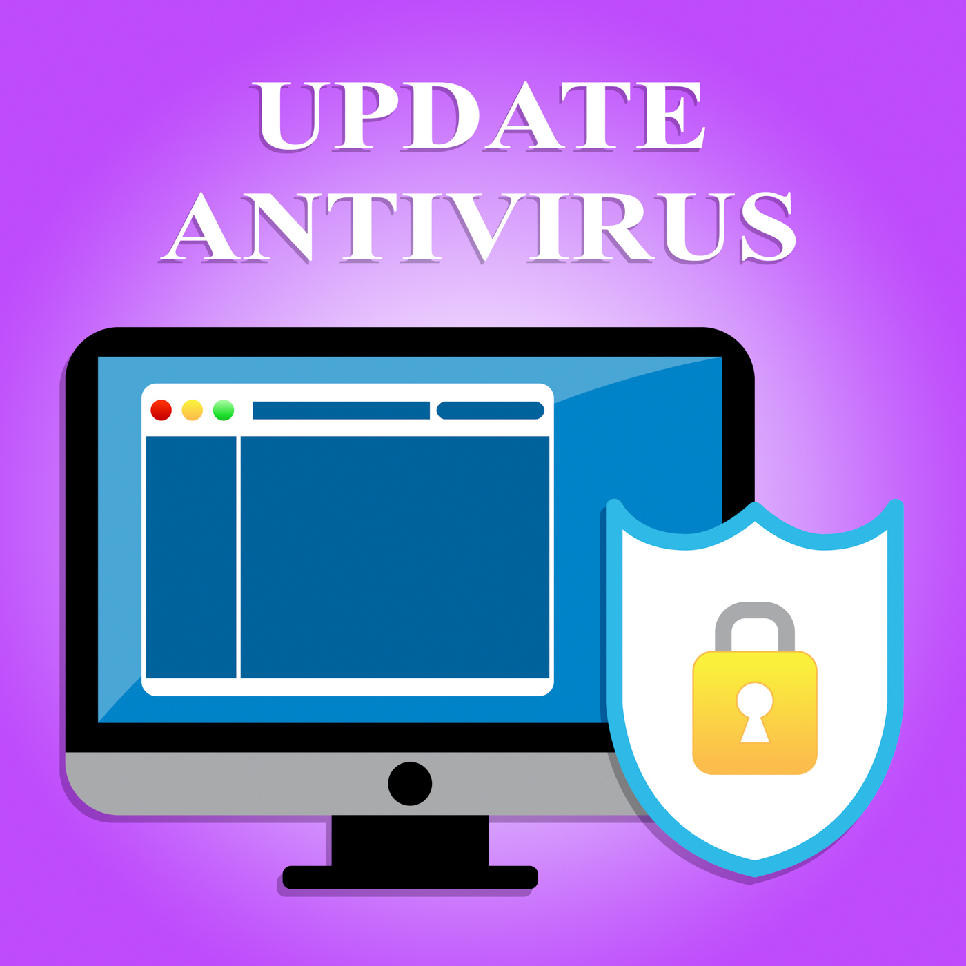 Update antivirus means malicious software and hack photo