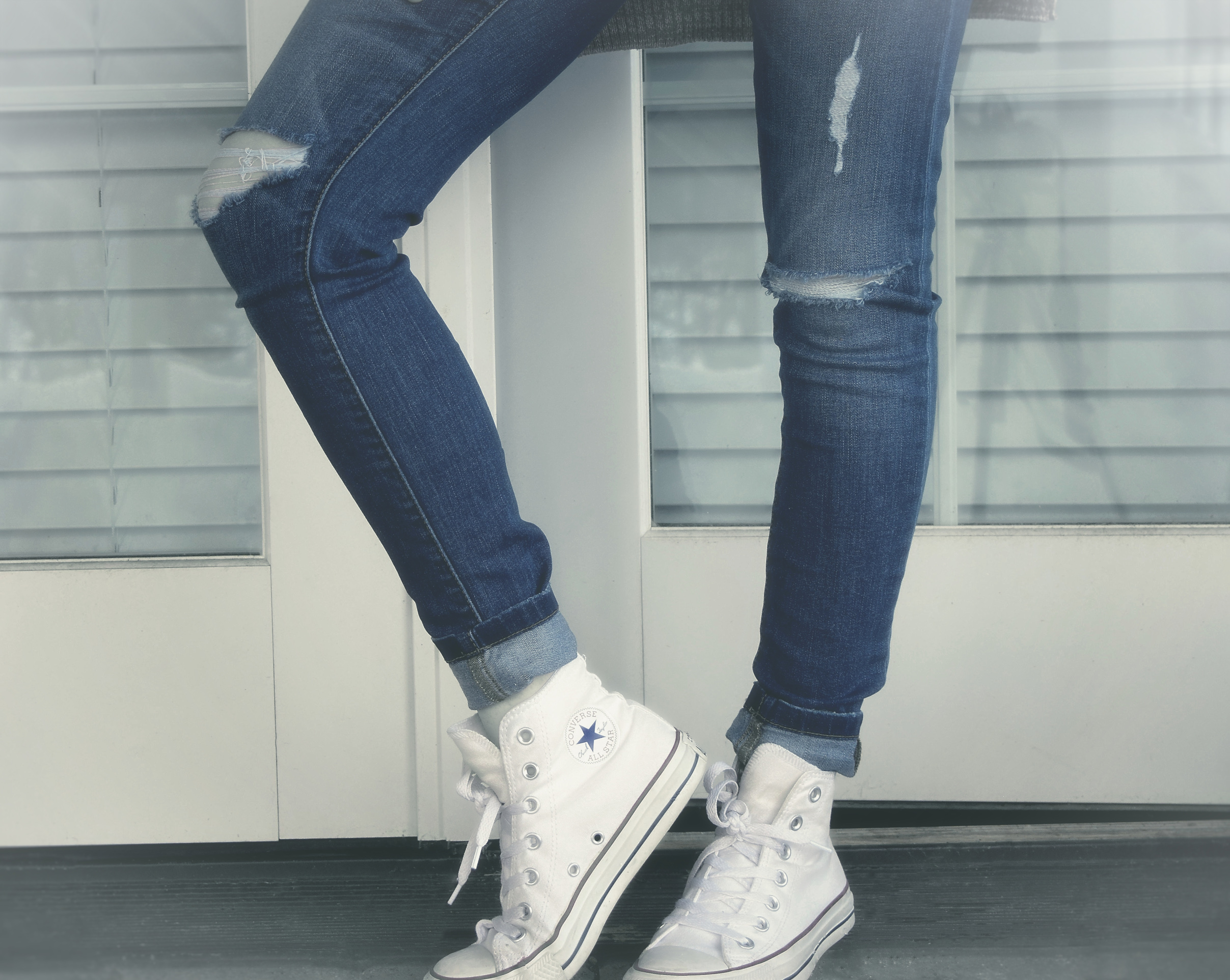 Urban Girl - Close-Up of Legs - Ripped Jeans and Sneakers, Addict, Street, Modern, Outdoor, HQ Photo