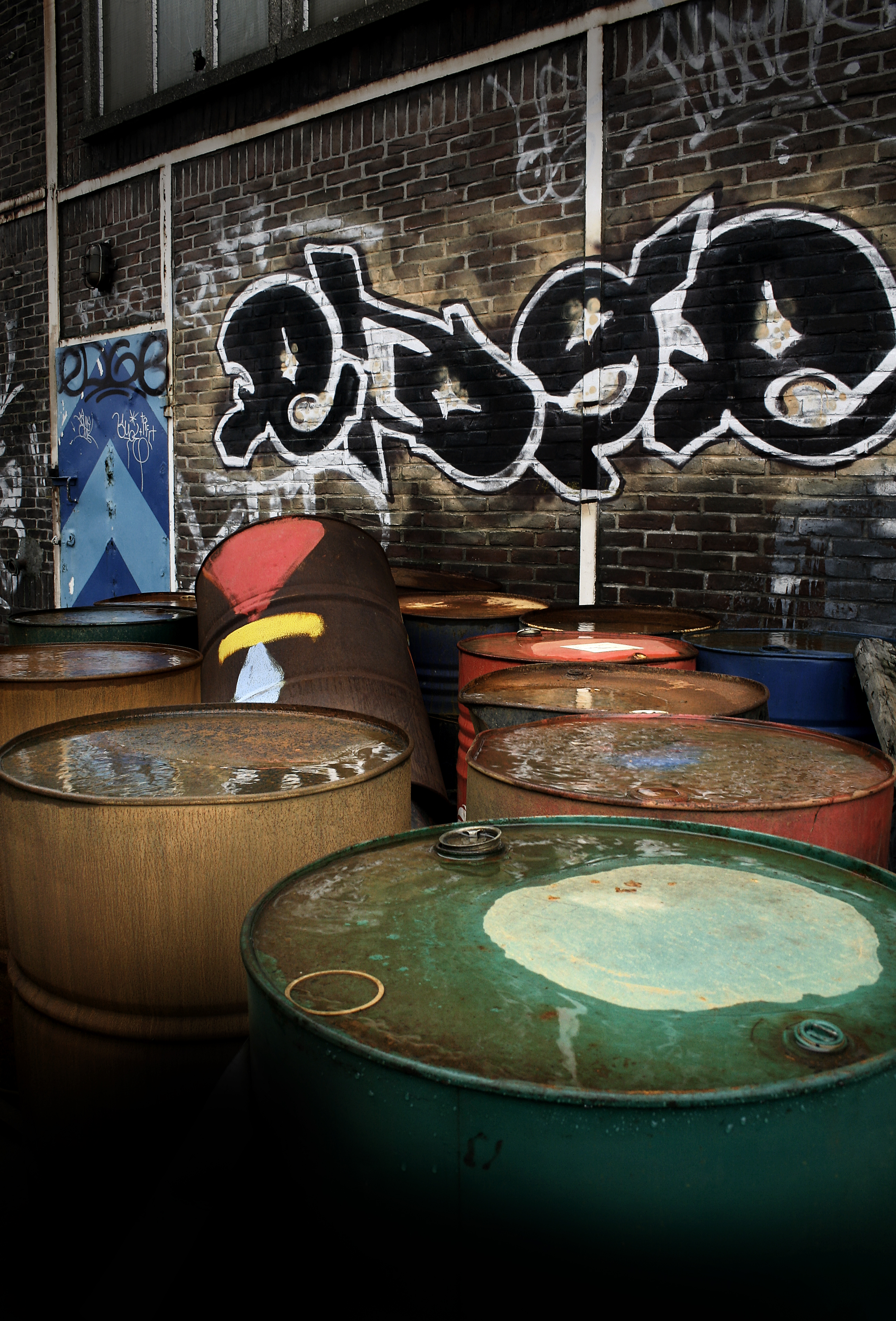 Urban oil cans/drums photo