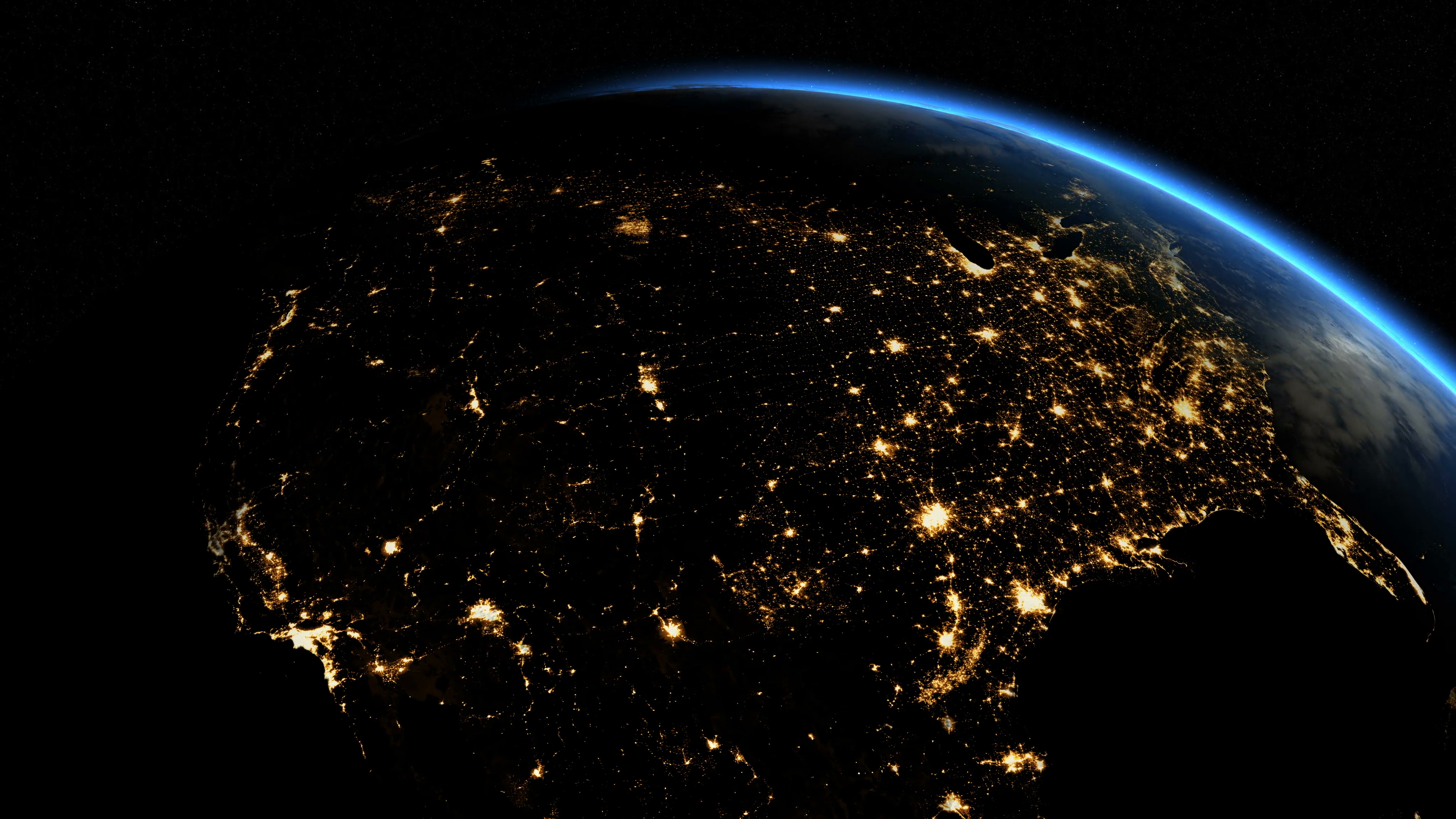 Sunrise over USA. The United States from space. Clip contains earth ...