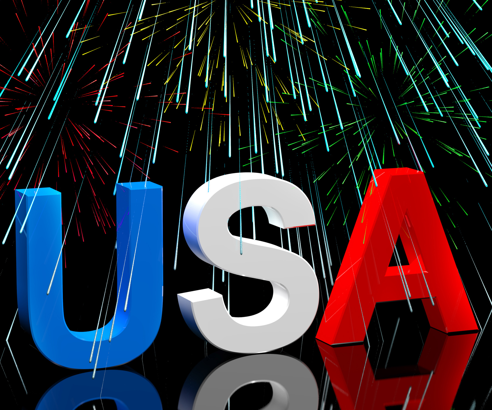 Usa word and fireworks as symbol for america and patriotism photo
