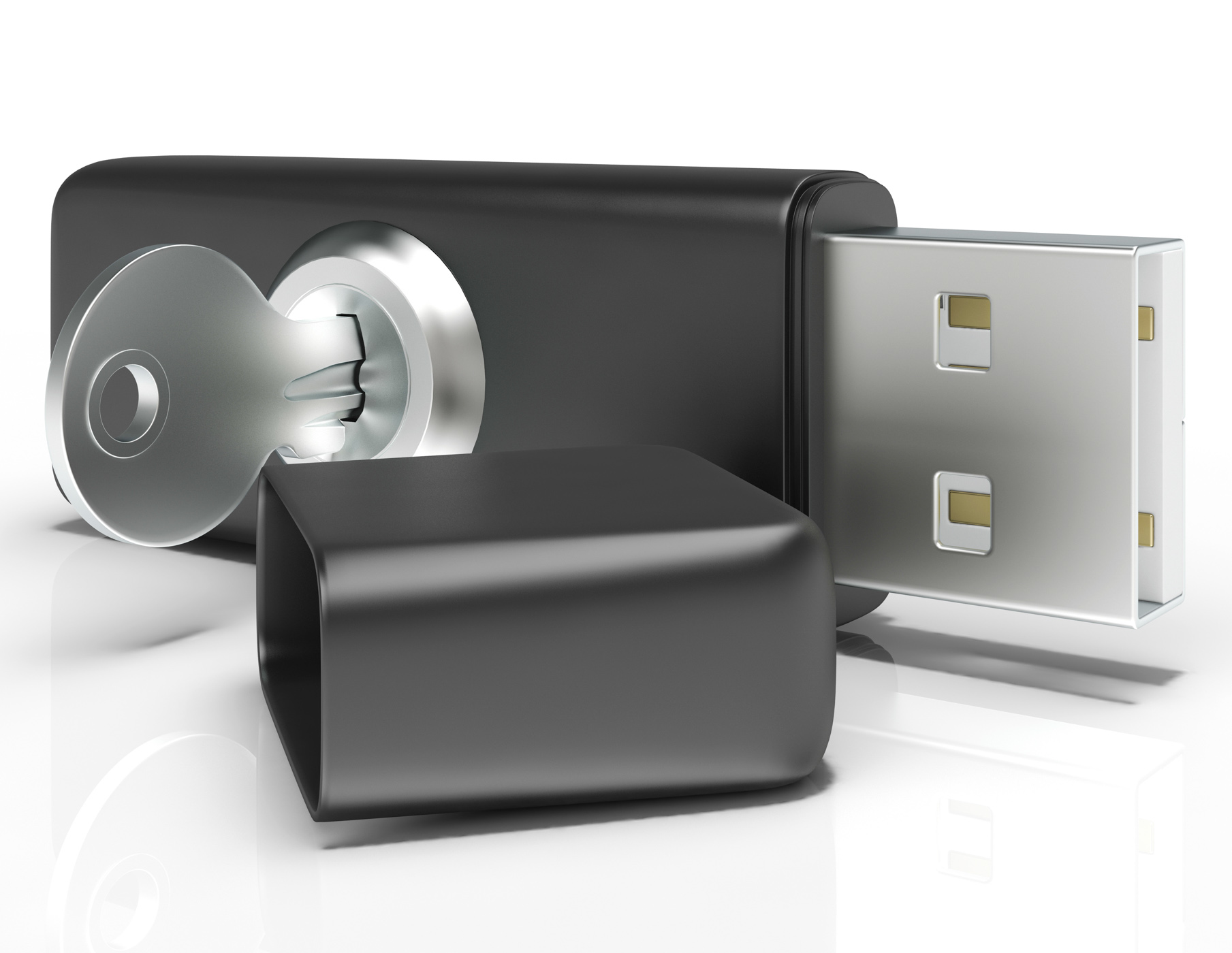 Usb flash and key shows secure portable storage photo