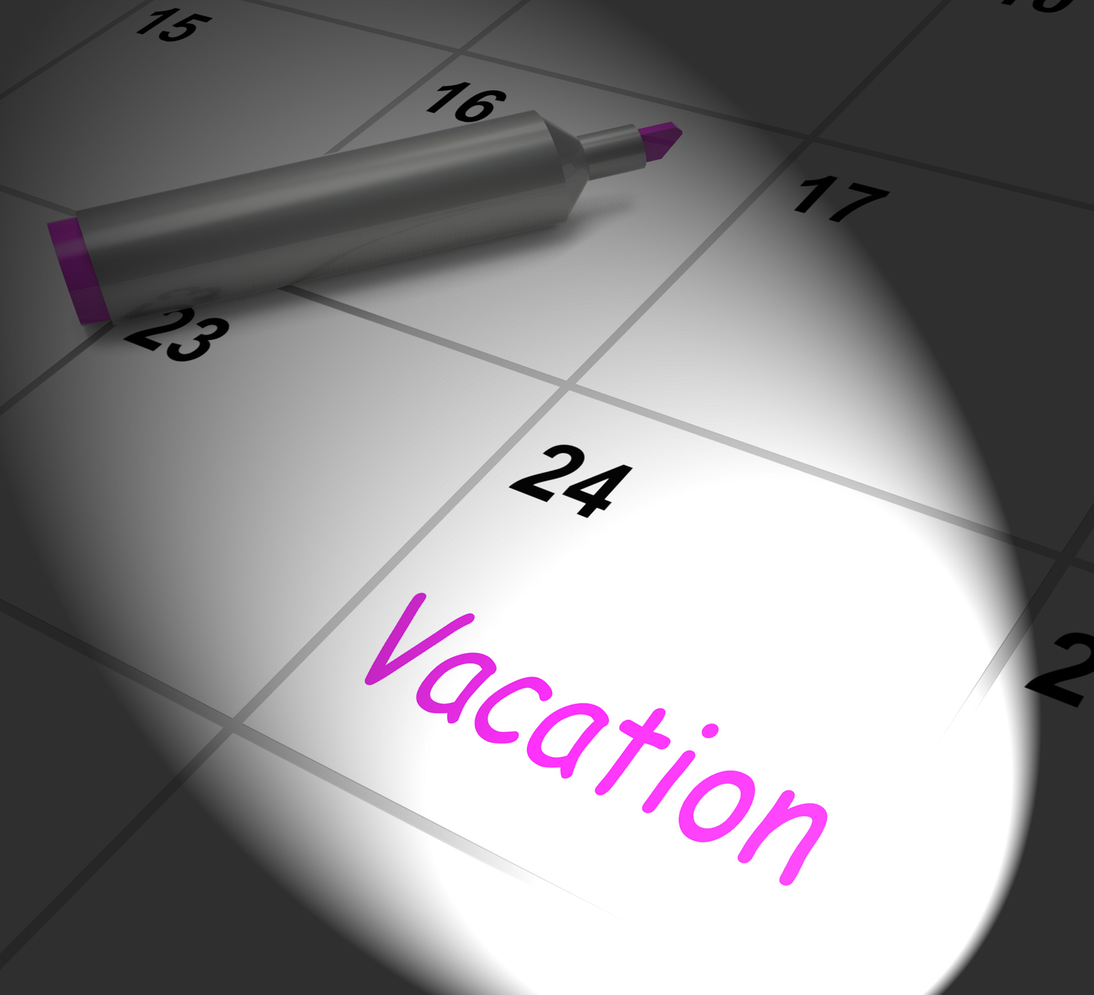 Vacation calendar displays day off work or holiday photo