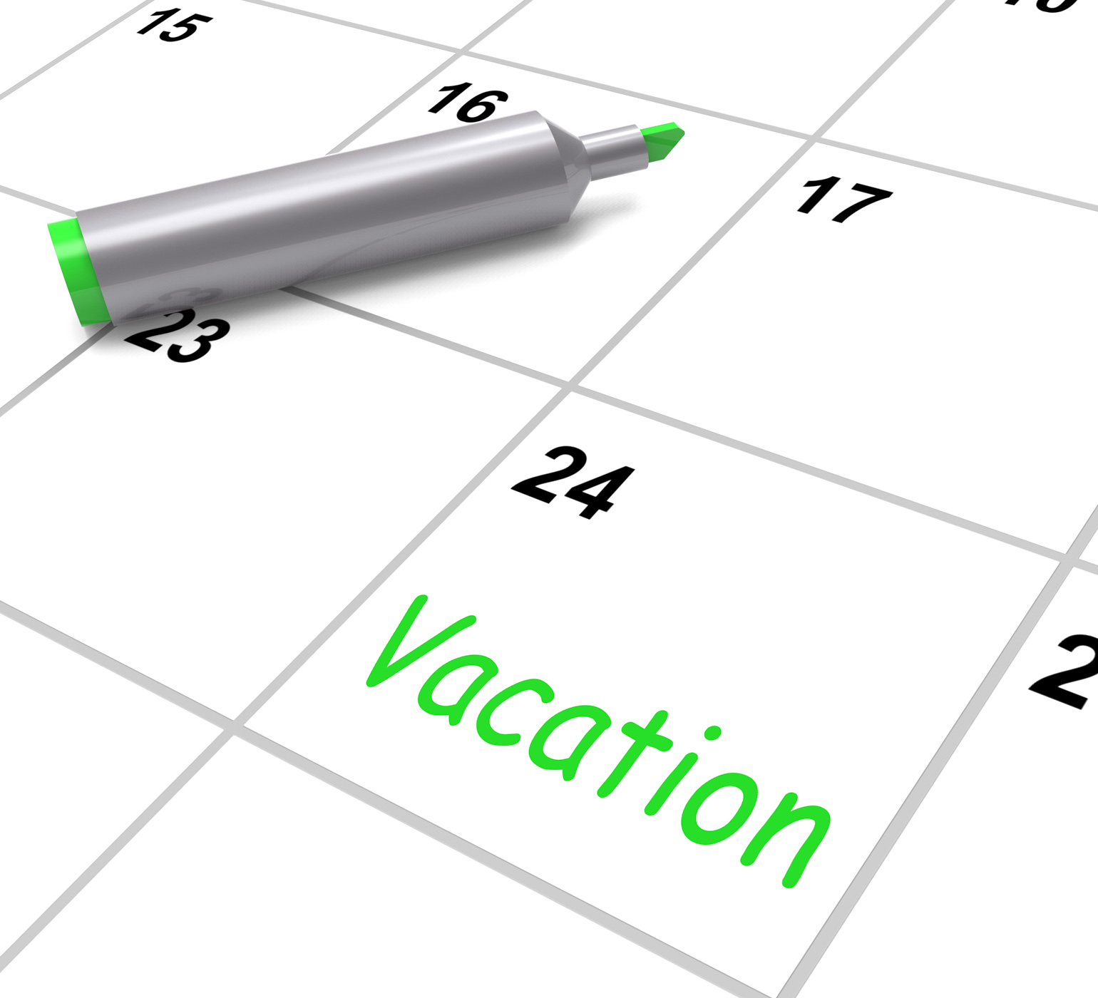 Vacation calendar shows day off work or holiday photo