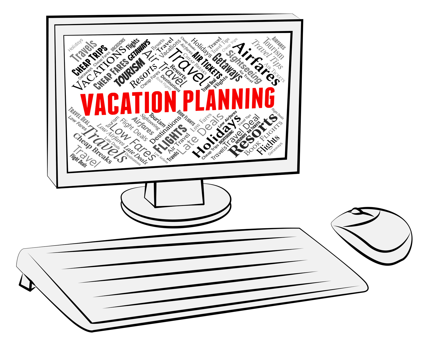 Vacation planning indicates pc scheduler and break photo