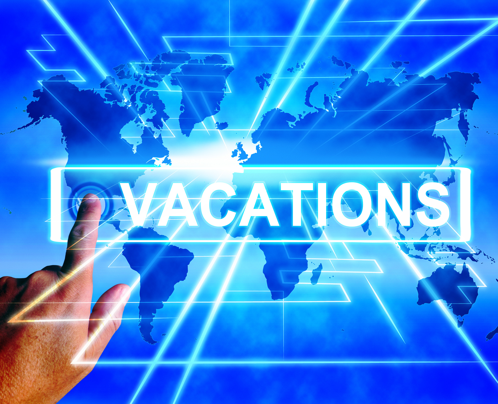 Vacations map displays online planning or worldwide vacation travel photo