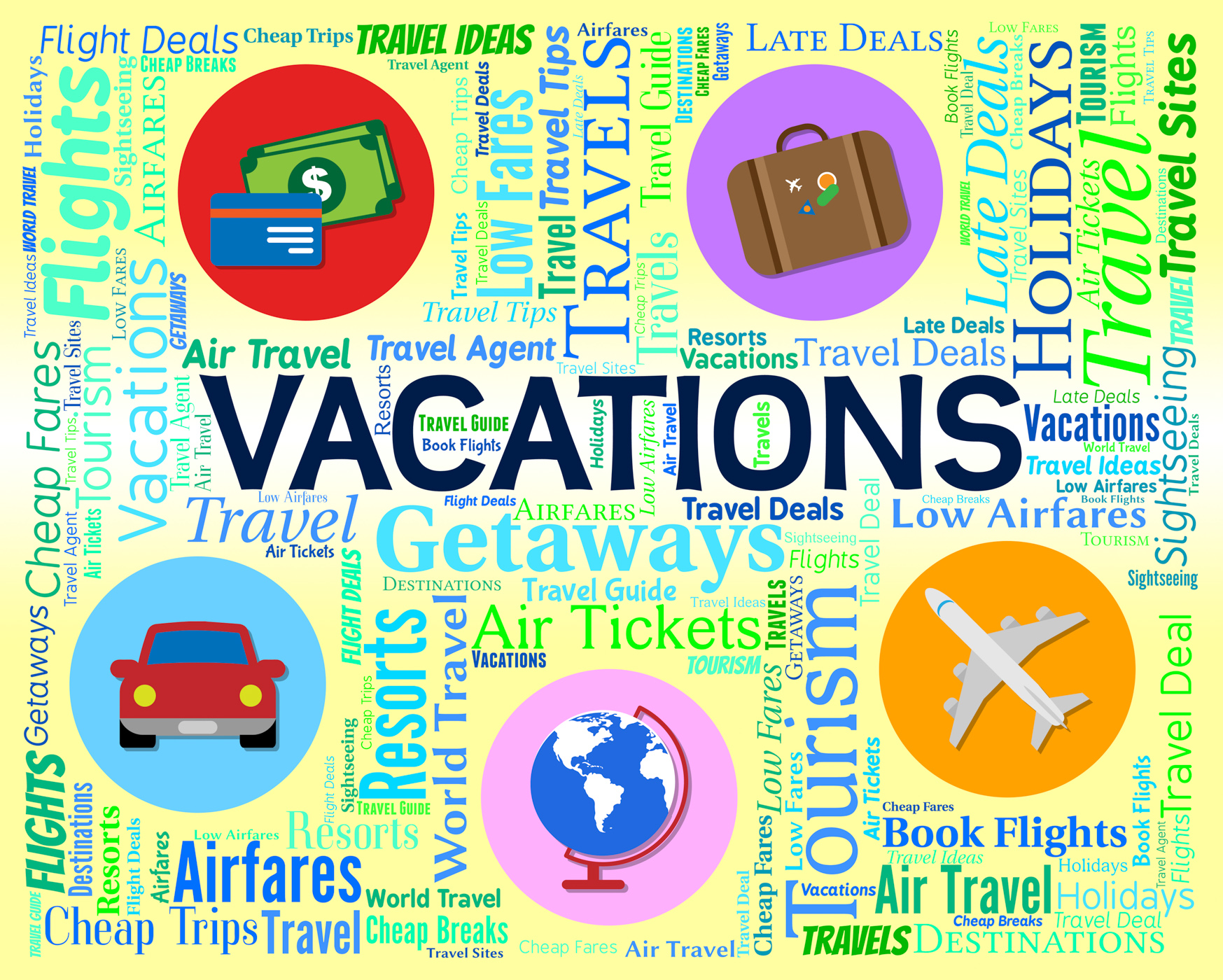 Vacations word indicates words travelling and travel photo