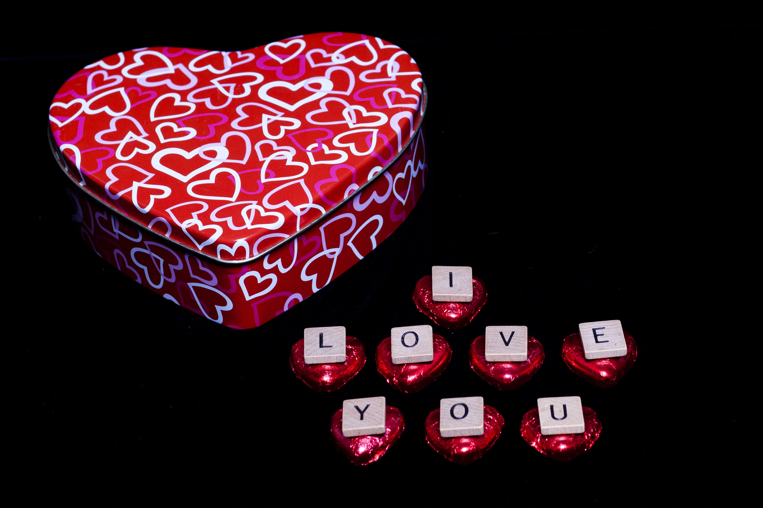 Valentine's Day Gift - I Love You, Patterned, Present, Red, Paper, HQ Photo