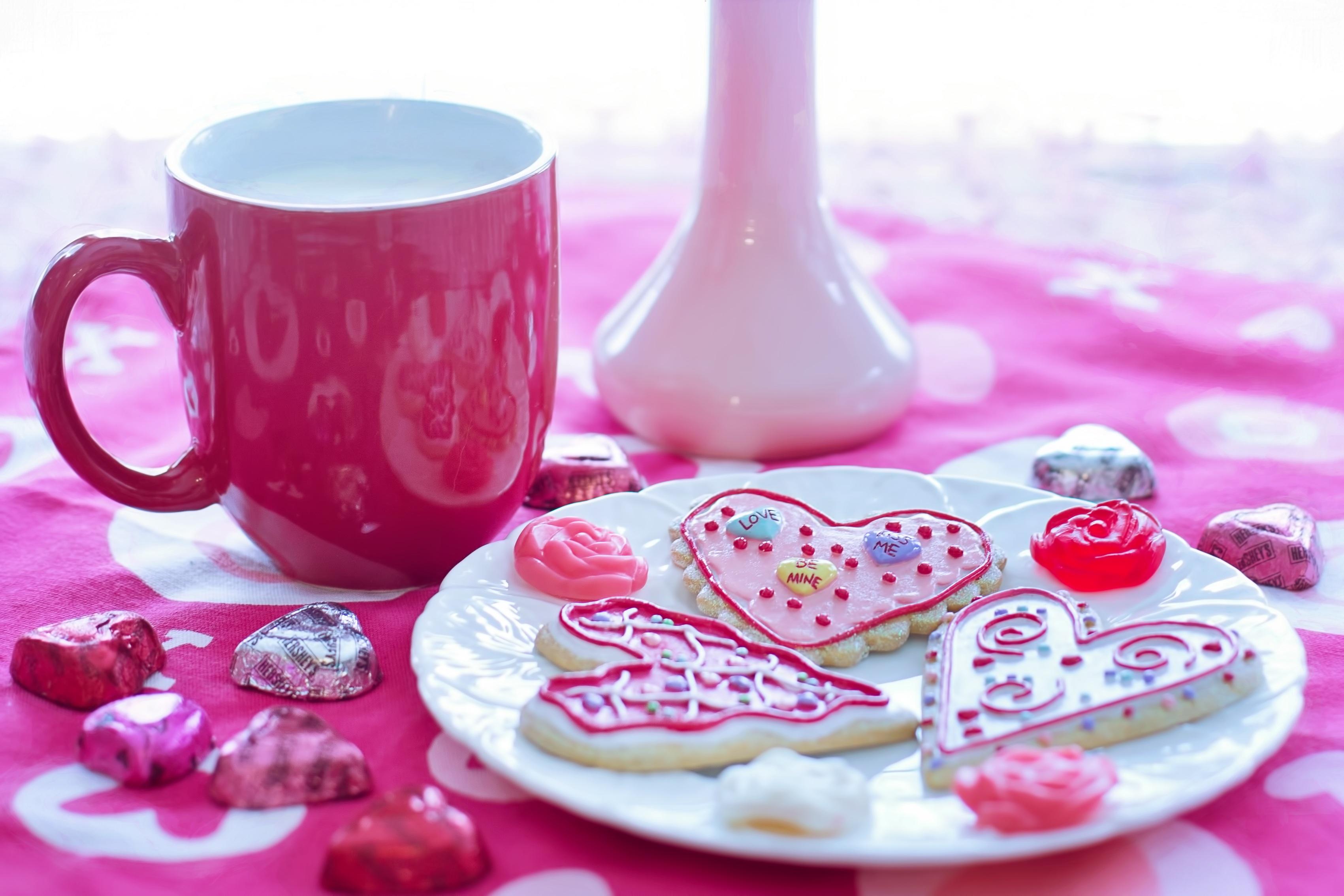 Valentine's day milk and cookies photo