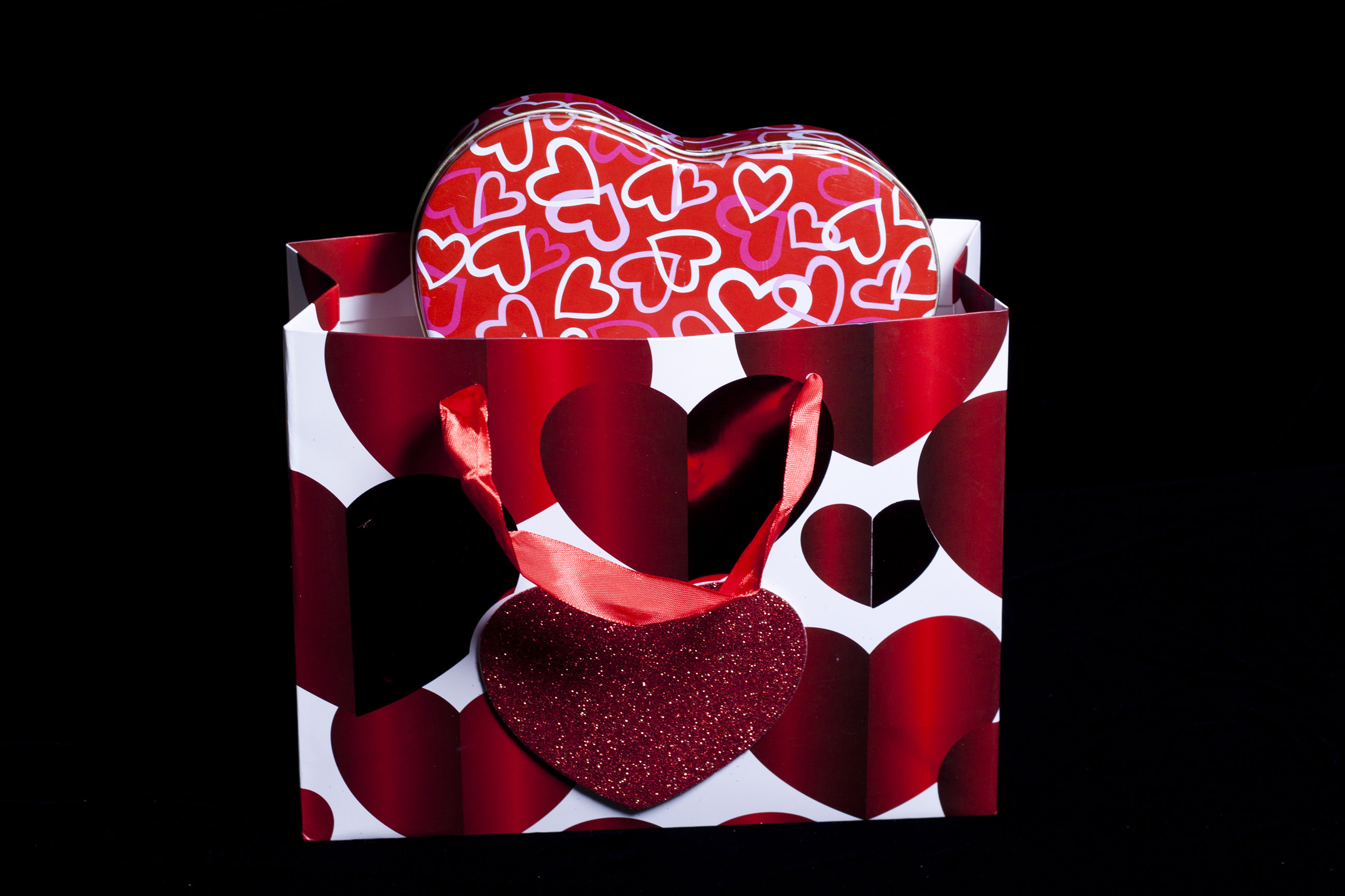 Valentines Bag and Gift box, Affection, Ribbon, Objects, Package, HQ Photo