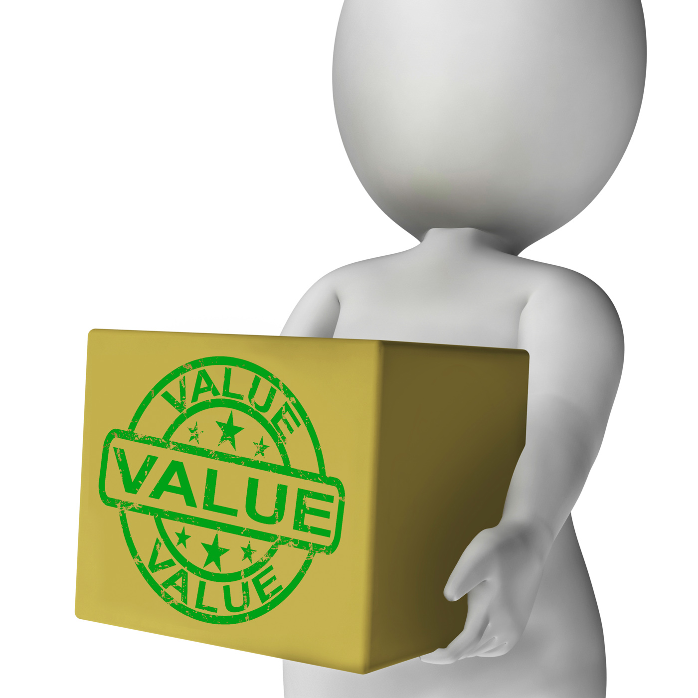 Value box means quality and worth of goods photo