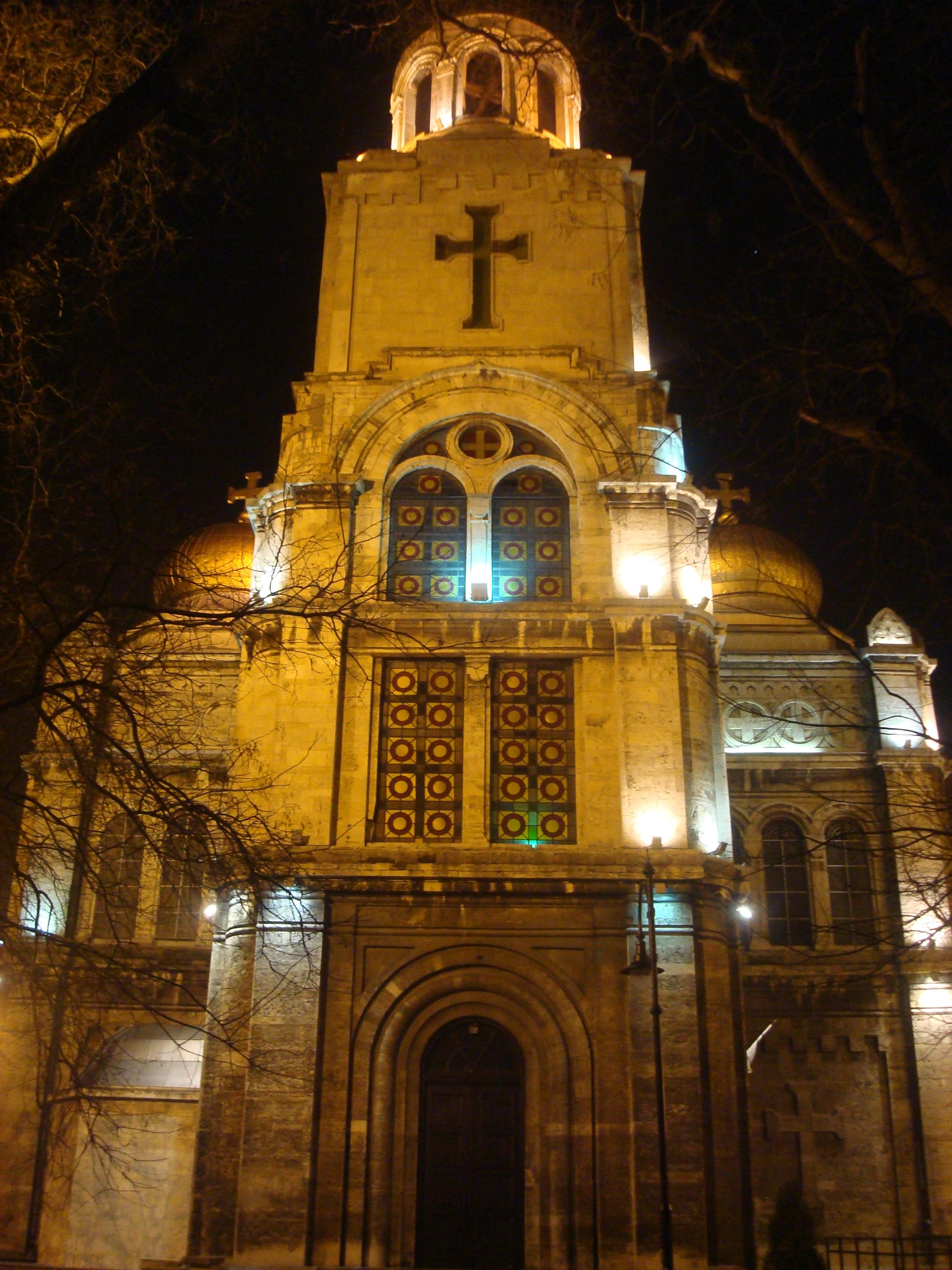 Varna cathedral at night photo
