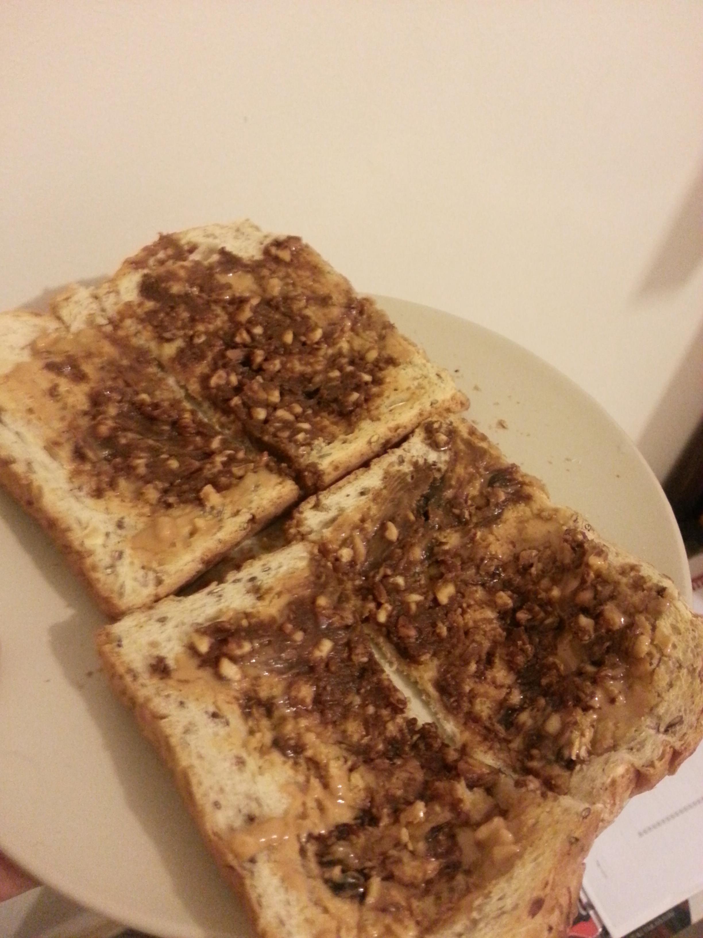Peanut butter and Vegemite on toast. : shittyfoodporn