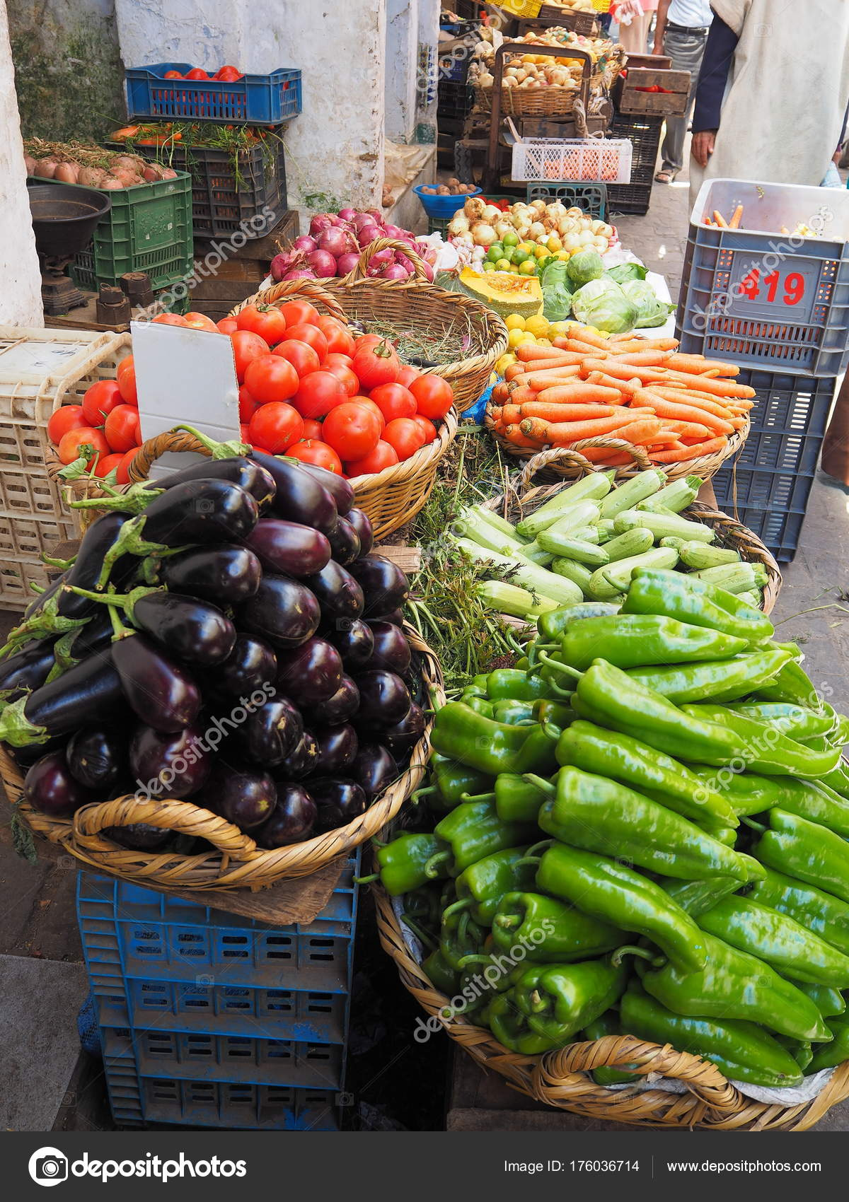 Colorful market stall of vegetables and produce — Stock Photo ...