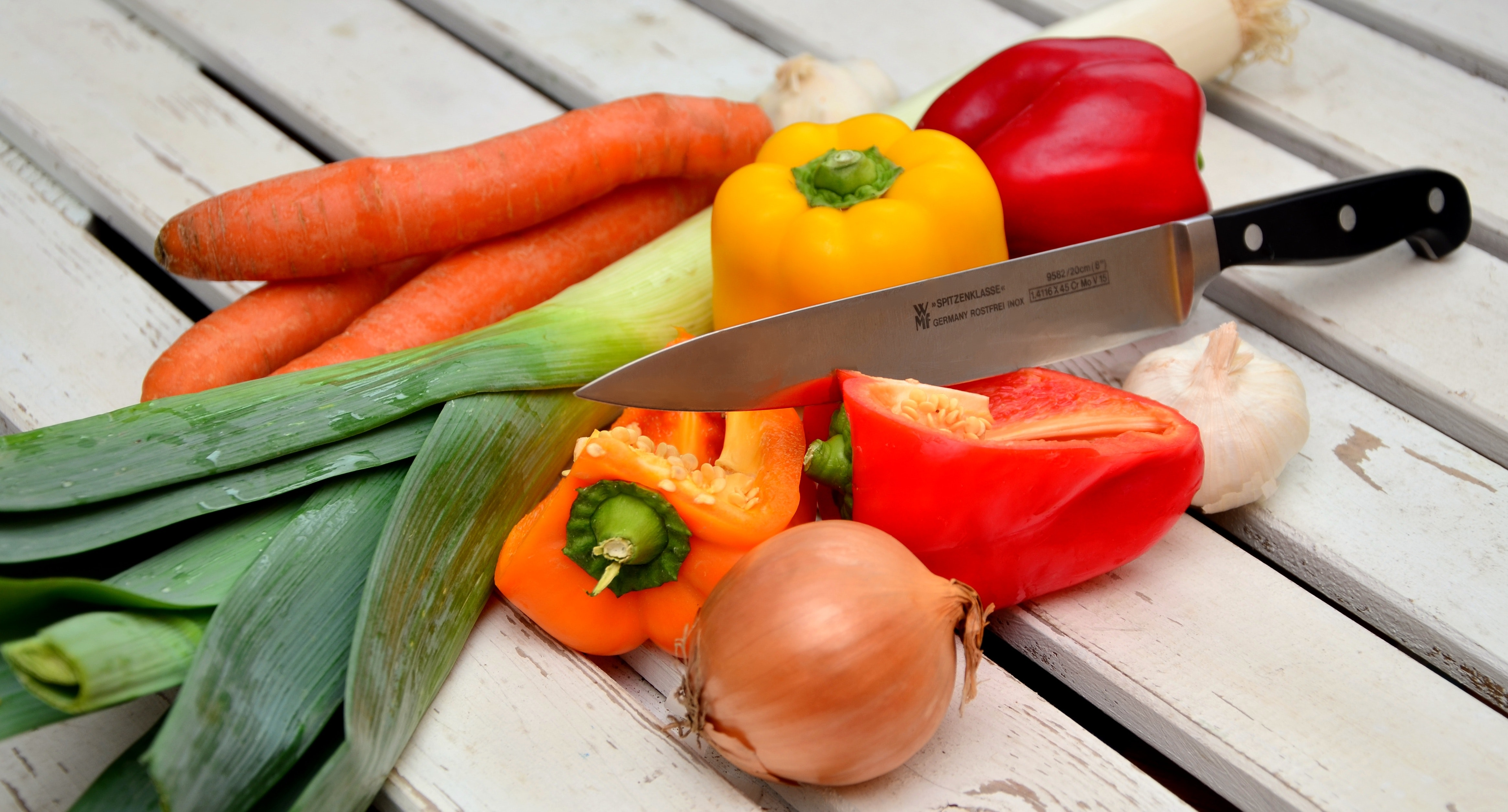 Vegetables With Knife, Bell peppers, Carrots, Cooking, Food, HQ Photo
