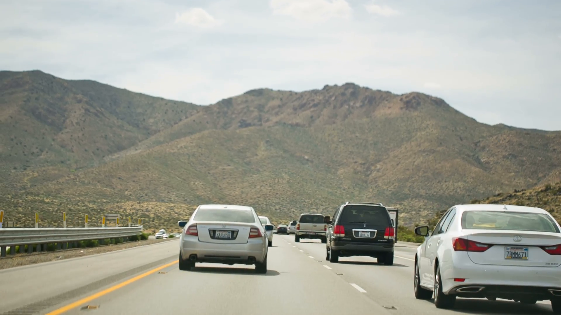 Vehicles on Desert Highway, Freeway Road with Cars Driving, Mountain ...