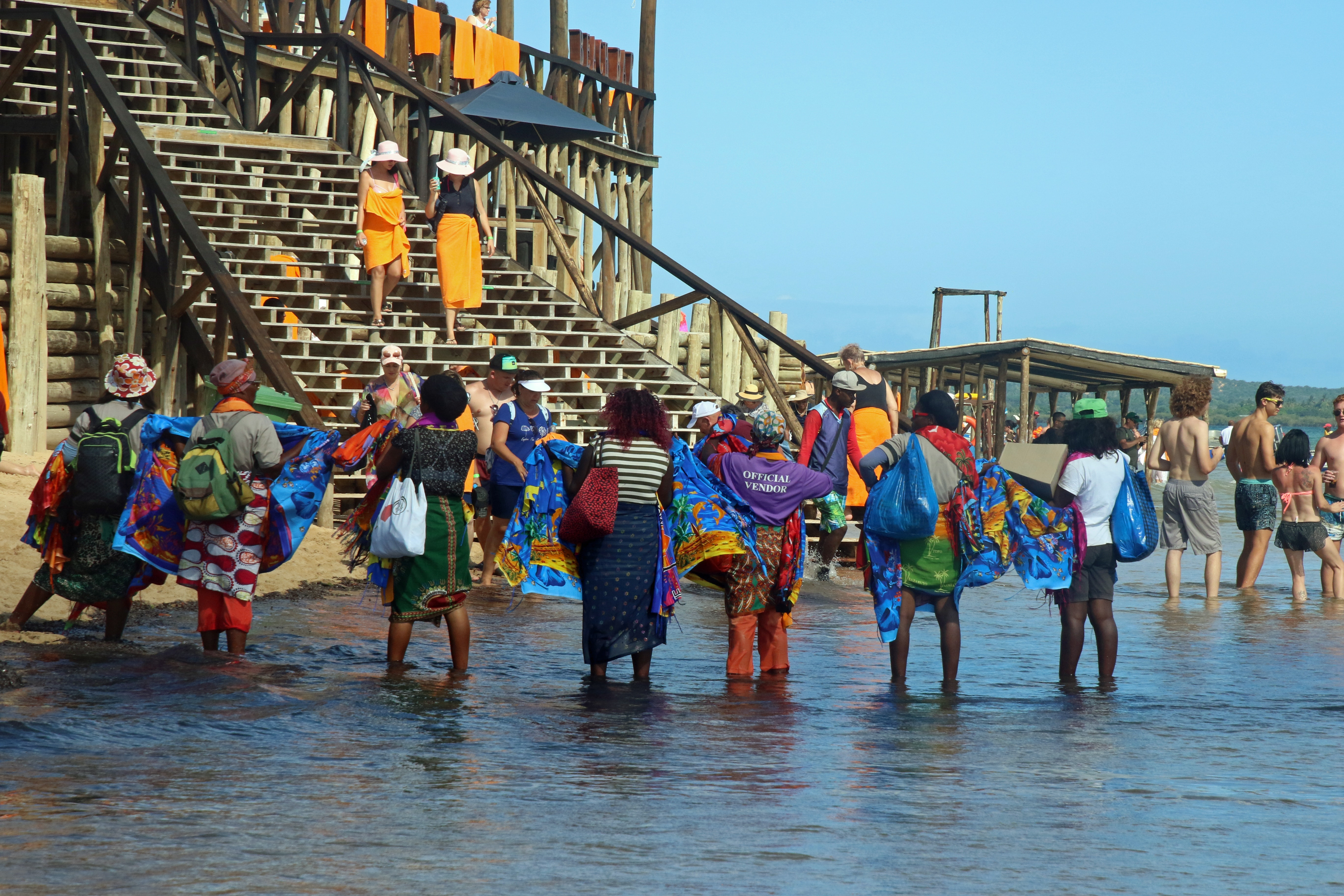 Vendors waiting for tourists on the beach photo