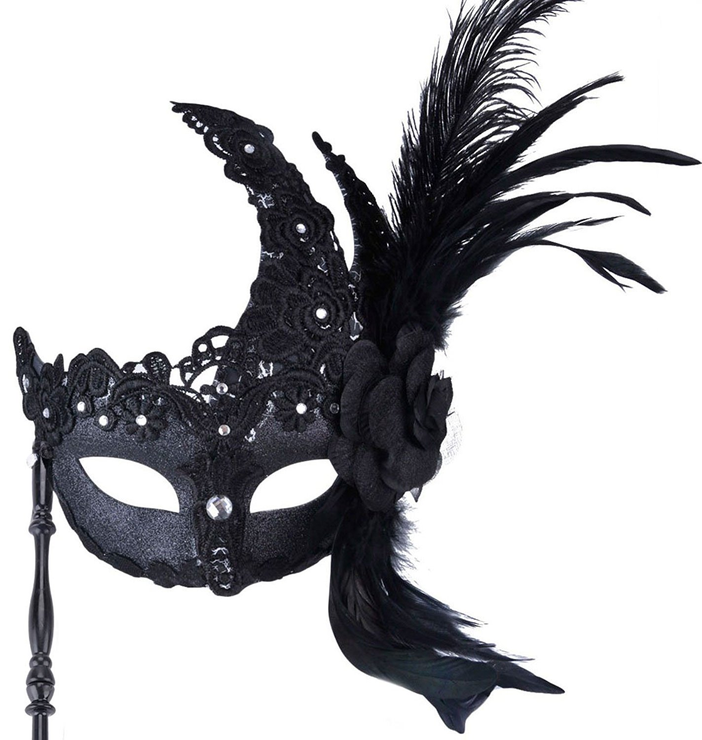 Amazon.com: Coxeer Masquerade Mask on Stick Black Halloween Costume ...