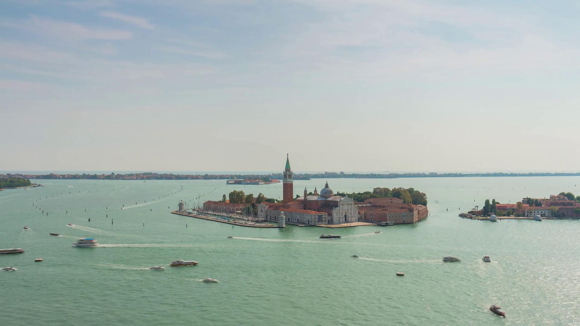 campanile palazzo ducale bay san giorgio maggiore 4k time lapse ...