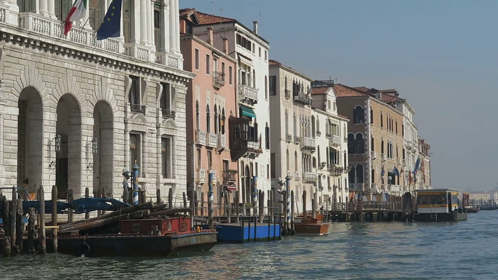 Venice, Italy Grand Canal buildings and mooring piles view. Day view ...