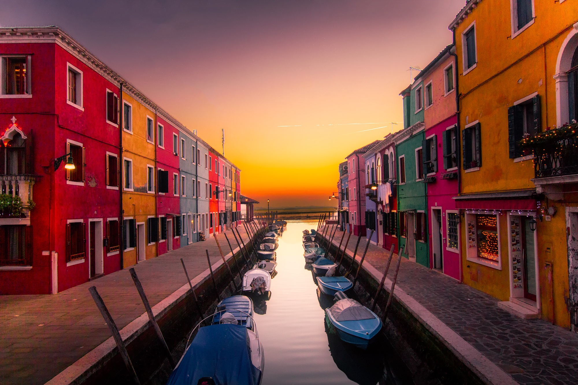 Boats Buildings Canal Color Venice Free Stock Photo - NegativeSpace