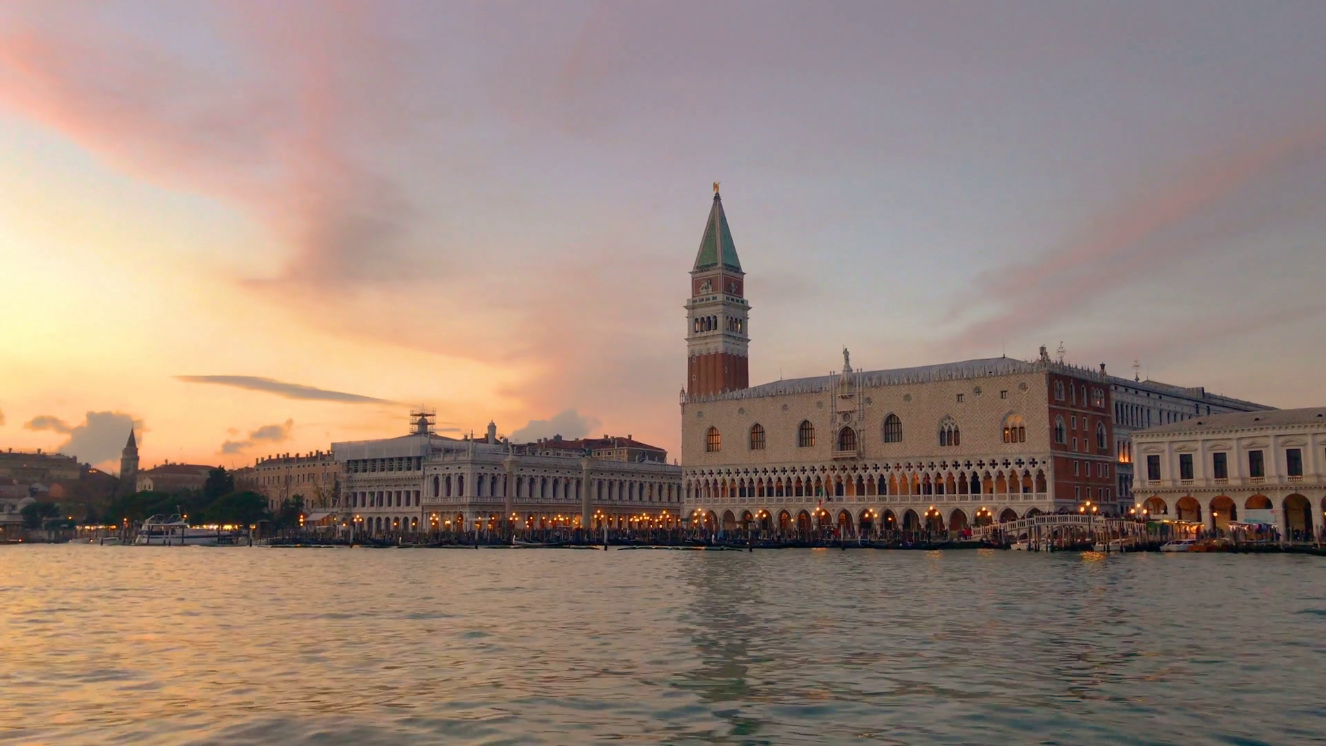 Venice Italy sunset view from sea Stock Video Footage - Videoblocks