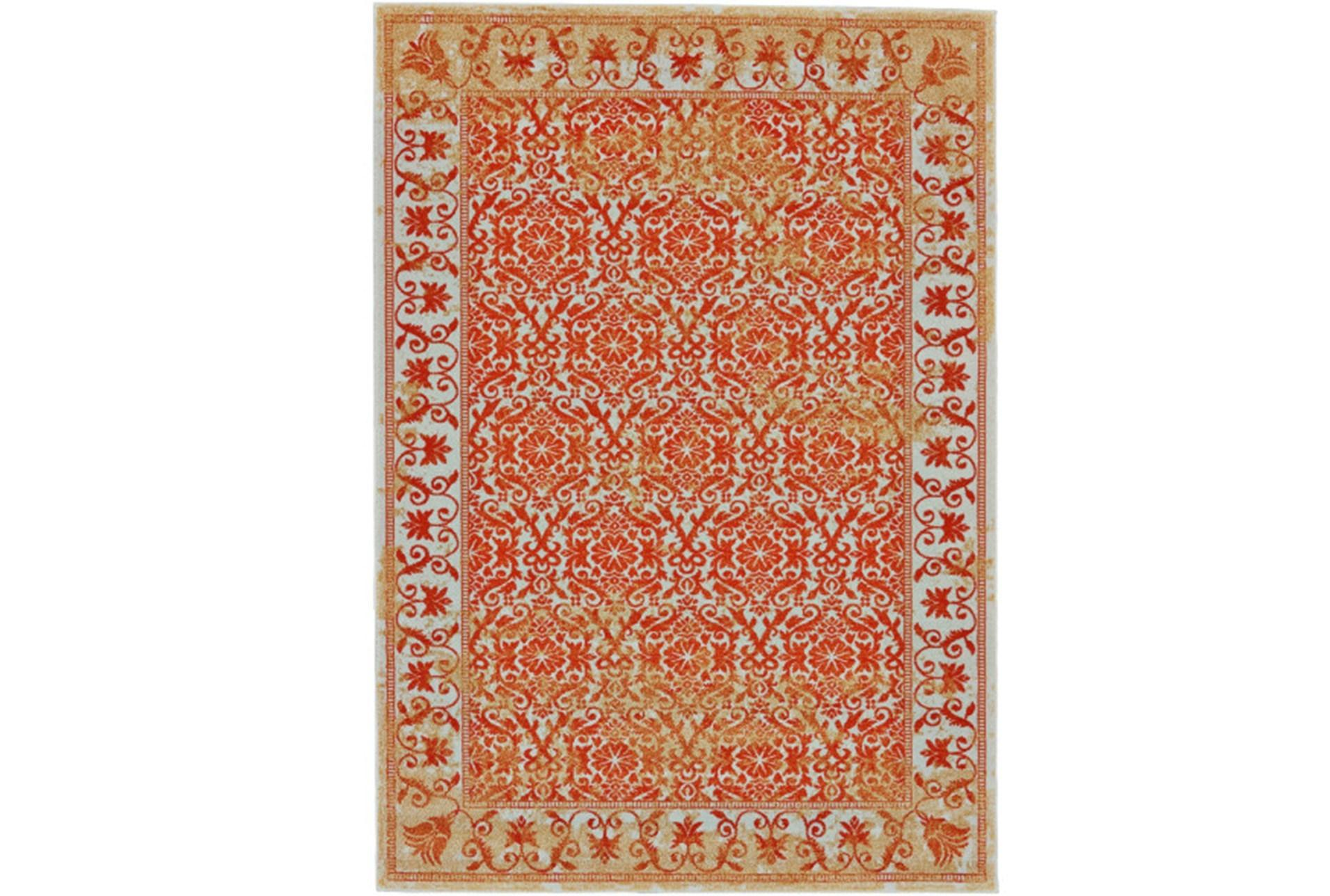 96X132 Rug-Vibrant Orange And Yellow Tapestry | Living Spaces