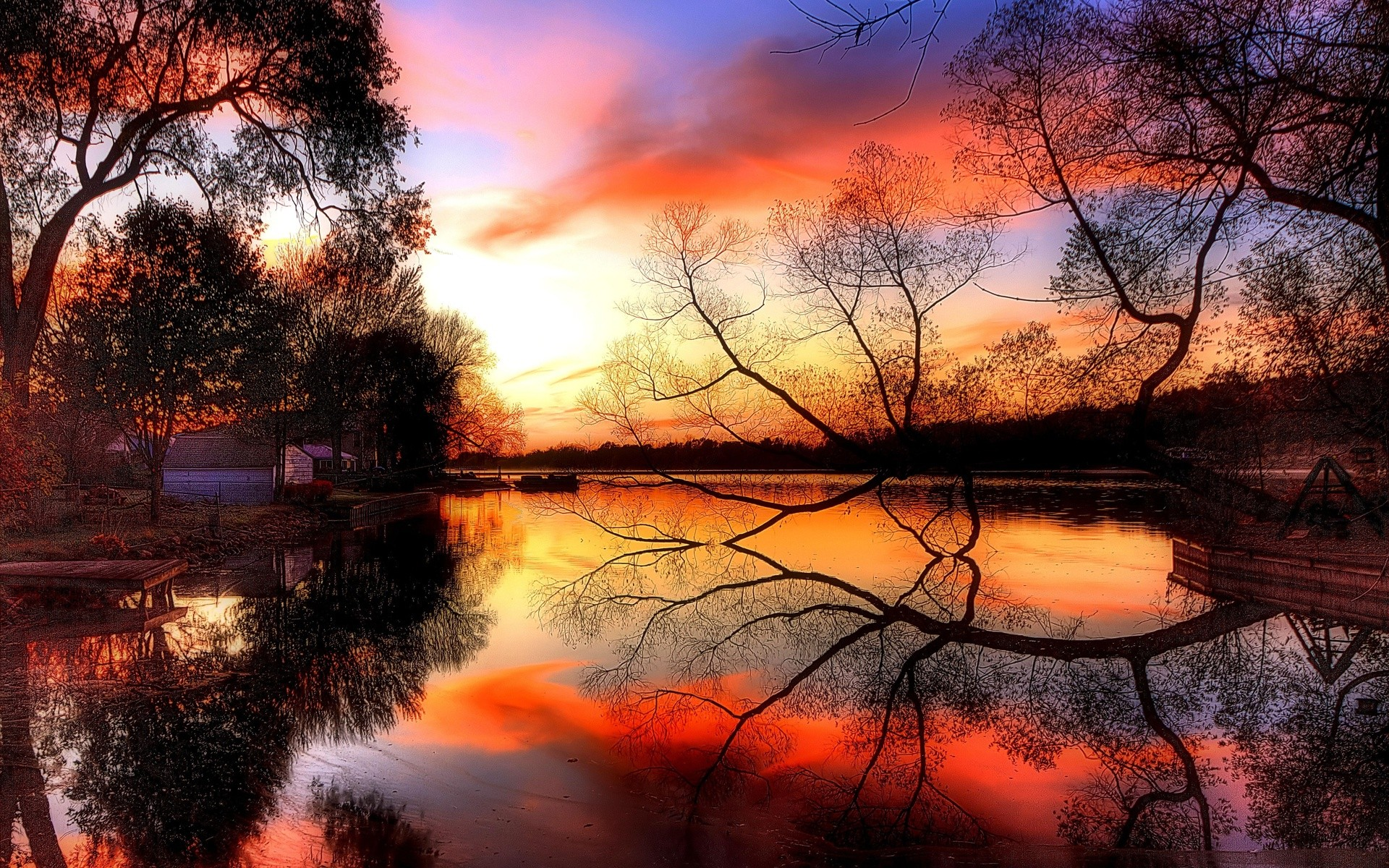 Sunsets: Beautiful Sunset Vibrant Reflection Clouds Sky Trees ...