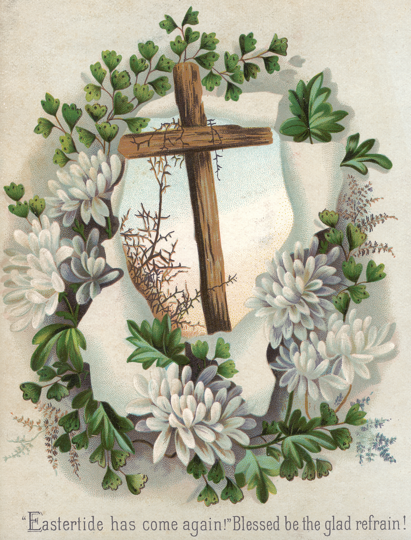 Victorian Greeting Card - Easter Cross, Lithograph, Paper, Page, Ornate, HQ Photo