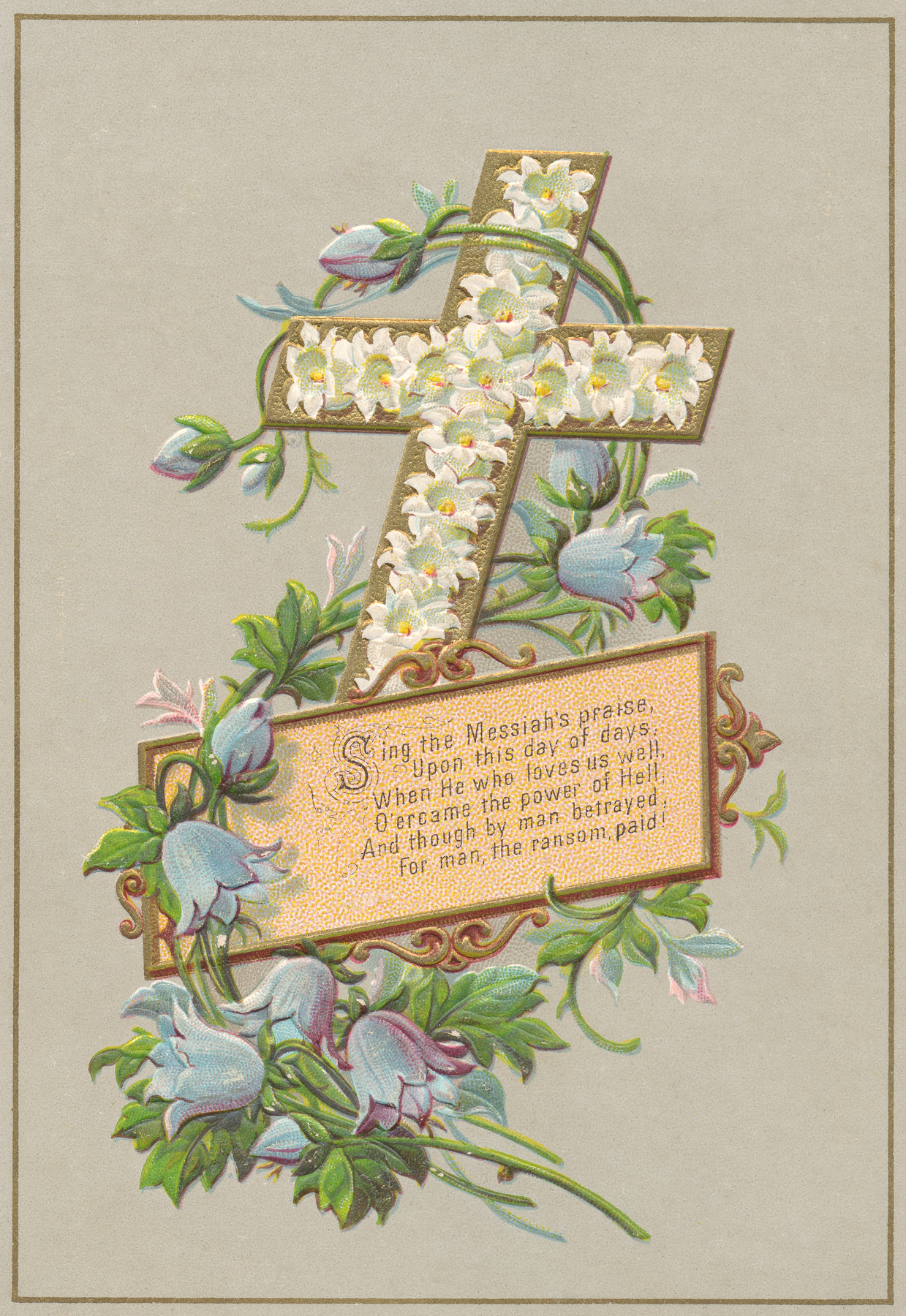 Victorian greeting card - easter cross photo