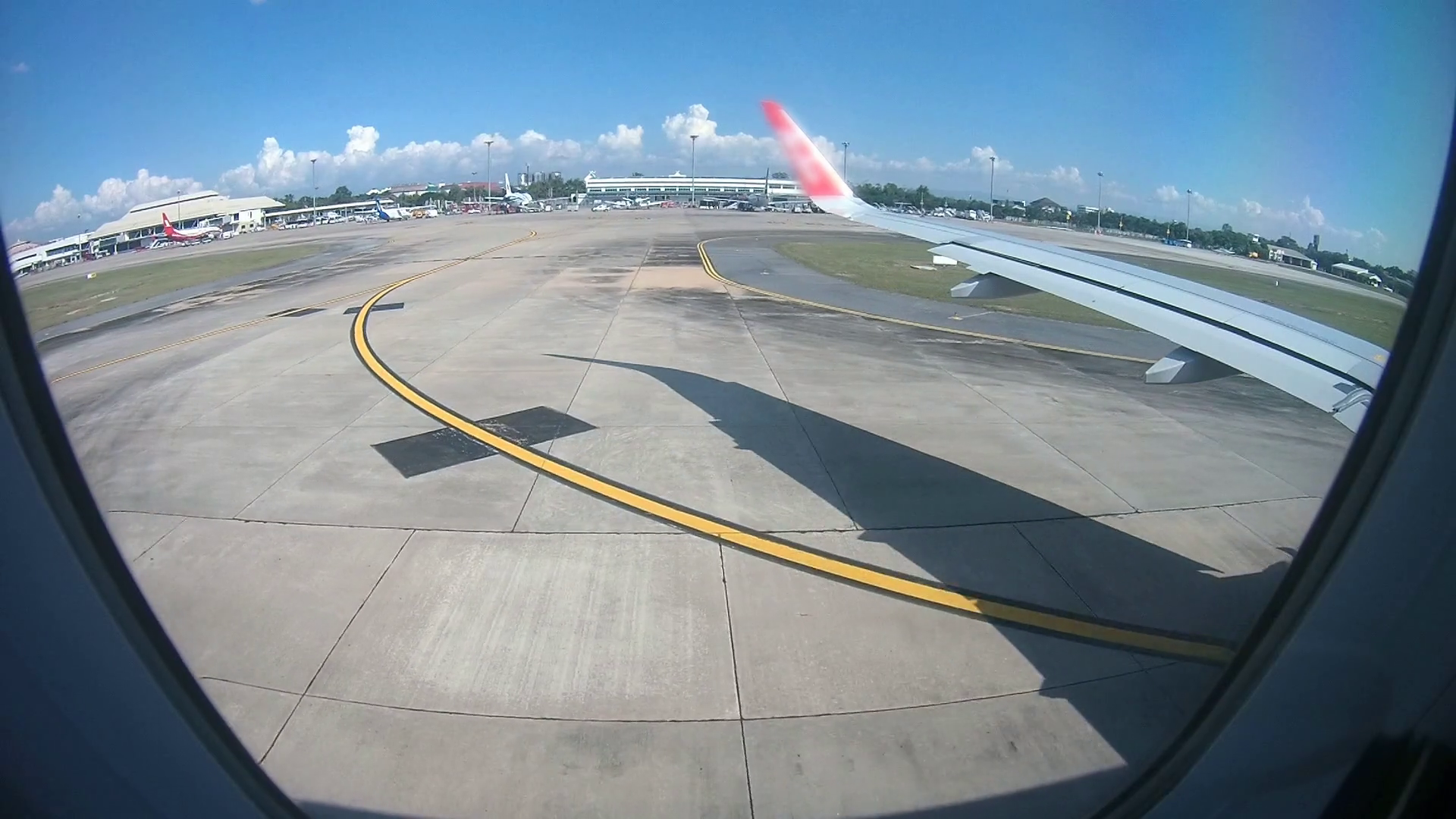 Plane moving in airport, View from the plane window Stock Video ...