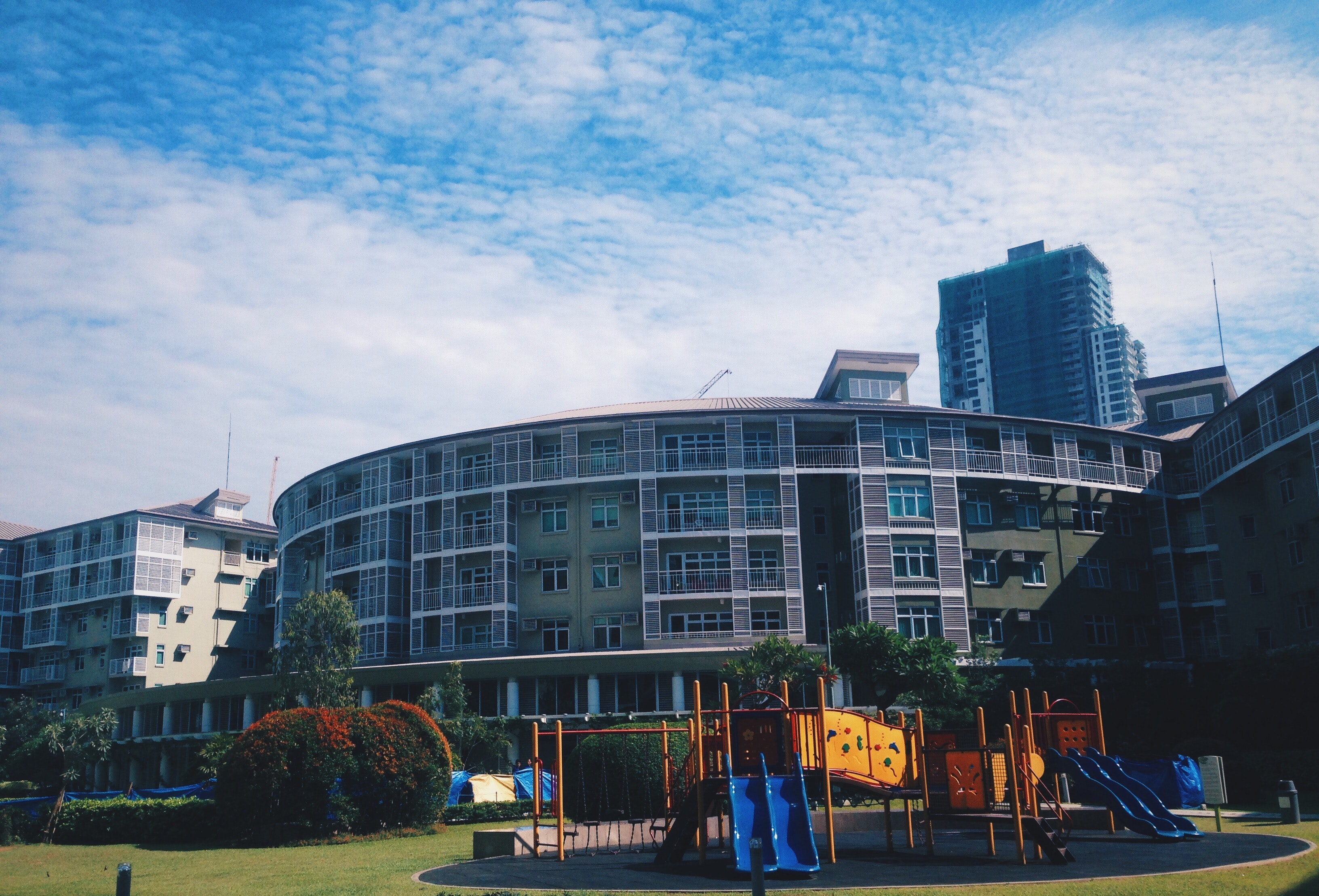 View of Buildings in City, Apartment, Trees, Tower, Slide, HQ Photo