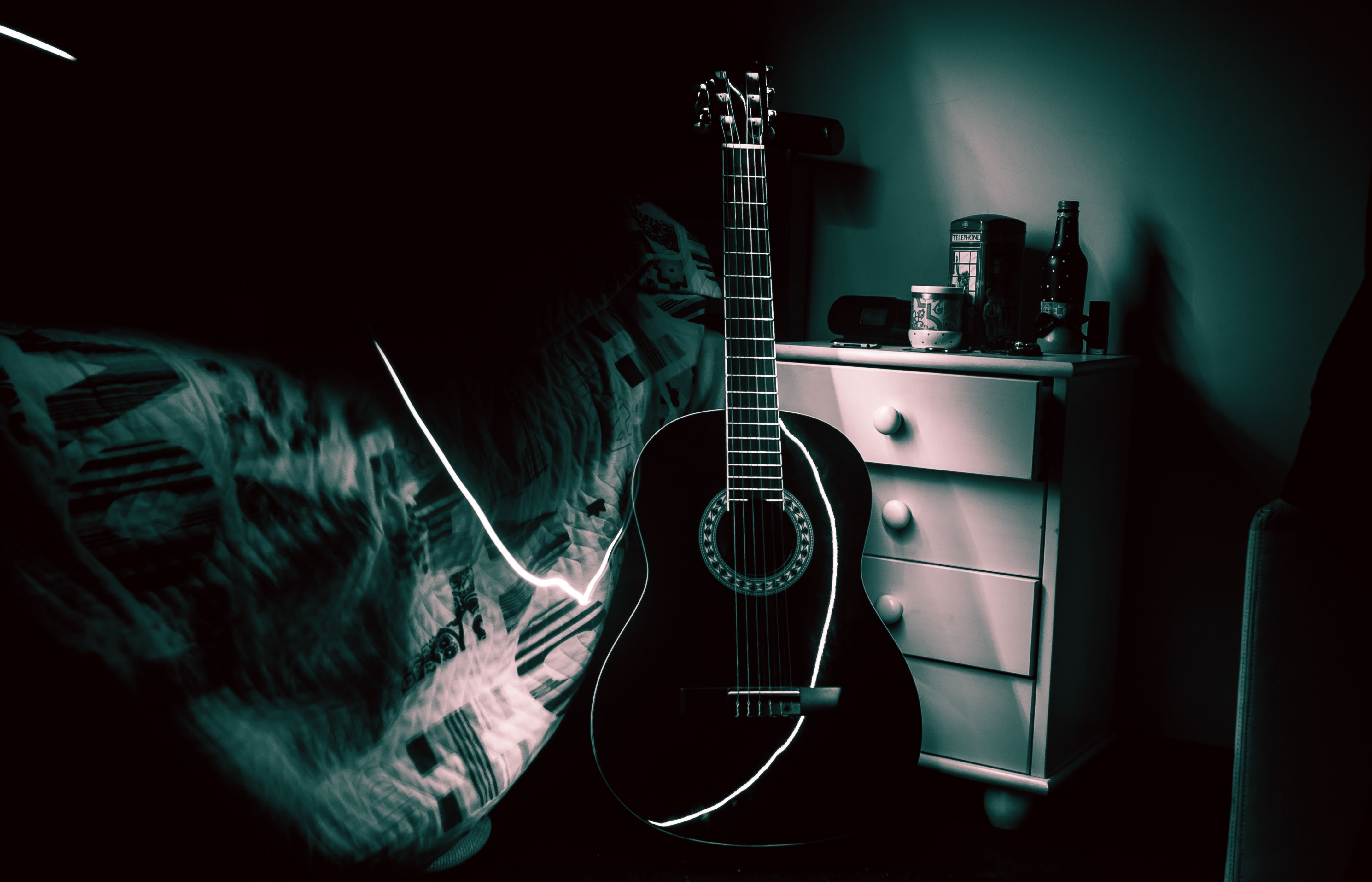 View of Guitar, Acoustic, Art, Band, Bed, HQ Photo