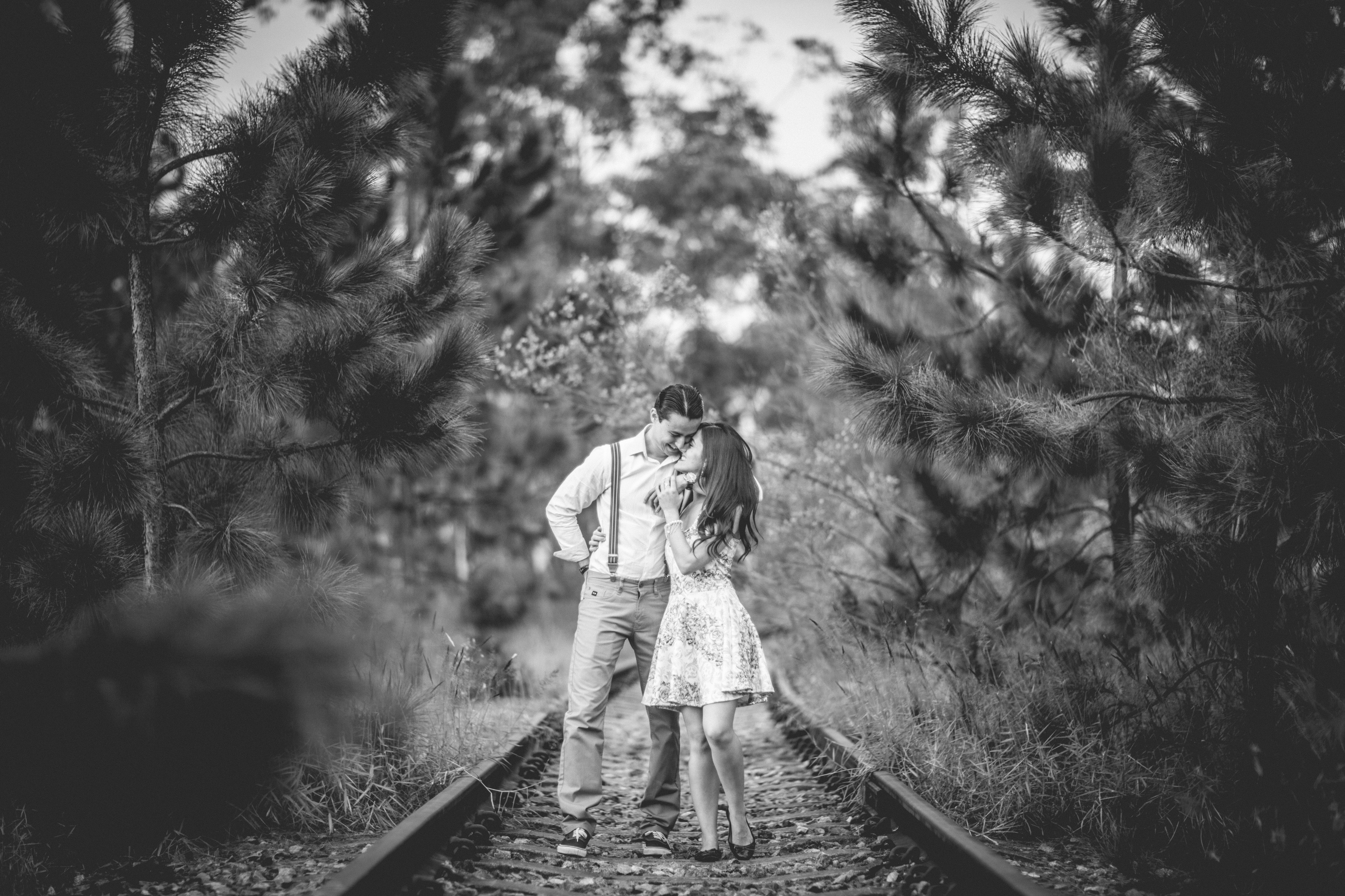 View of Man and Woman, Romantic, Togetherness, Road, Railway, HQ Photo