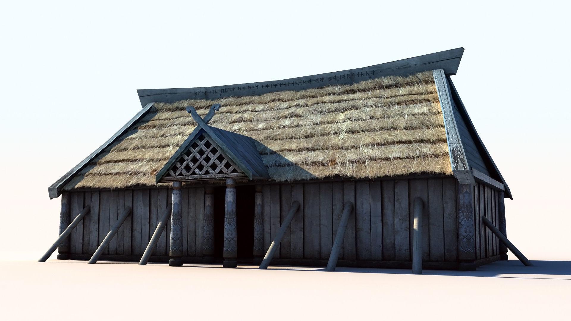 3D asset Viking House 3 longhouse | CGTrader