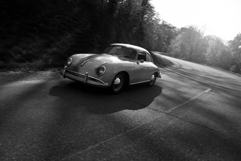 Vintage automobile on road photo
